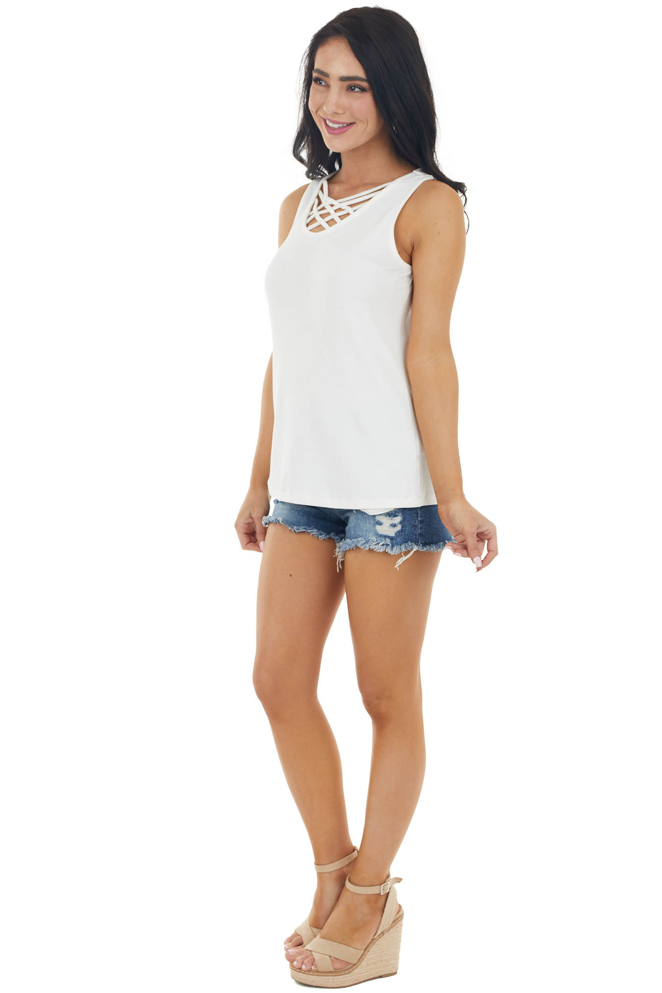 Ivory Ribbed Sleeveless Knit Top with Caged Neckline