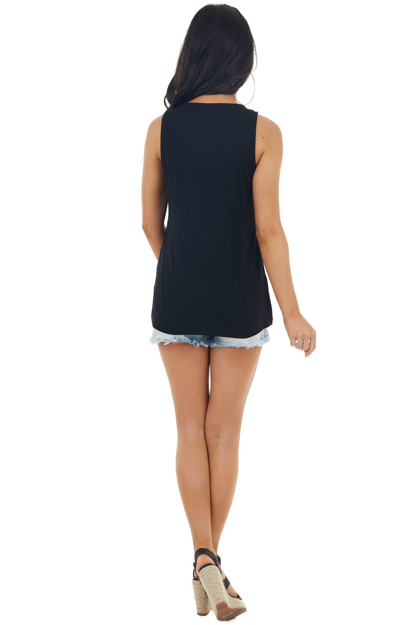Black Ribbed Sleeveless Knit Top with Caged Neckline