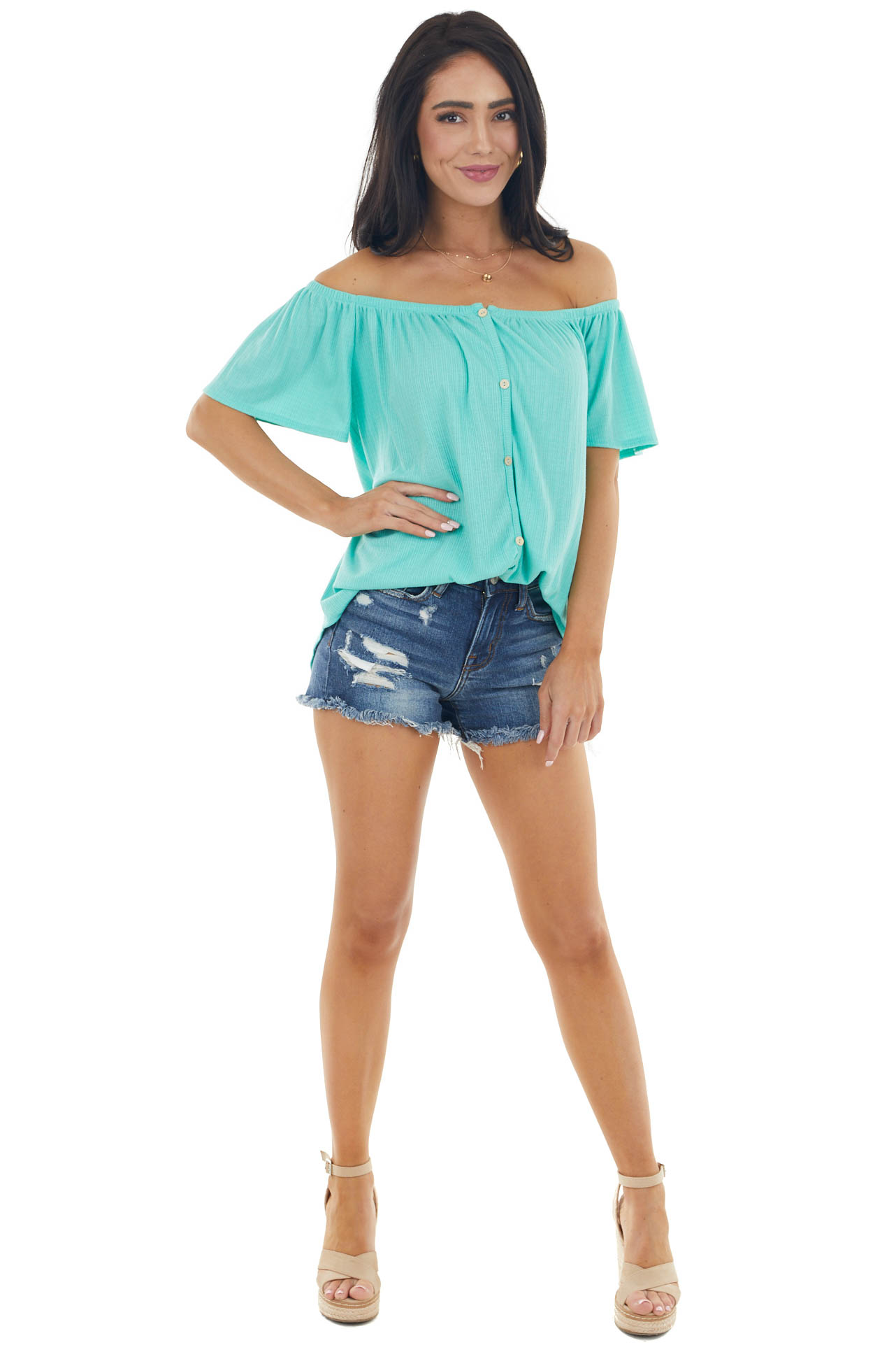 Turquoise Off the Shoulder Button Down Textured Knit Top