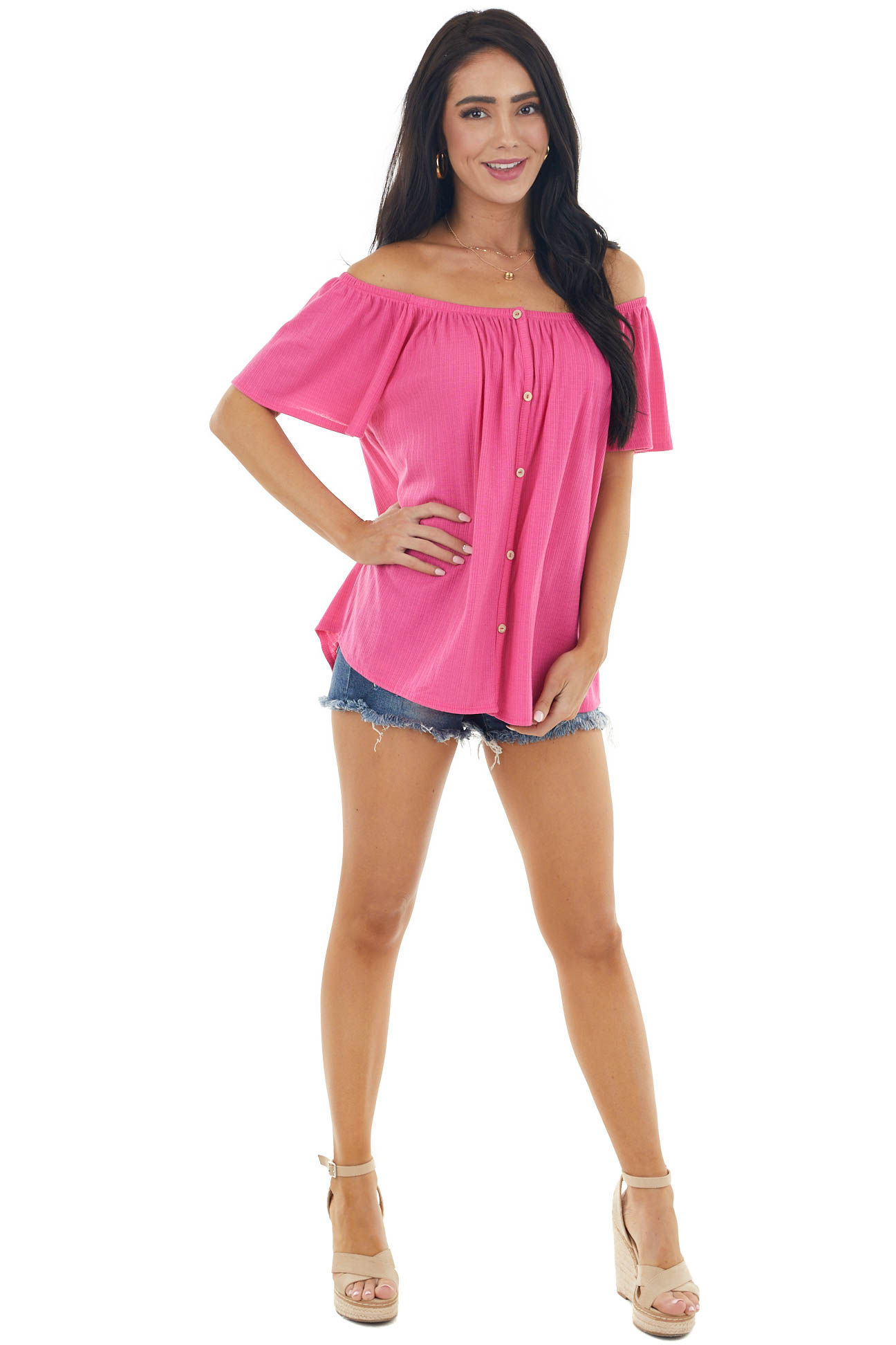 Magenta Off the Shoulder Button Down Textured Knit Top