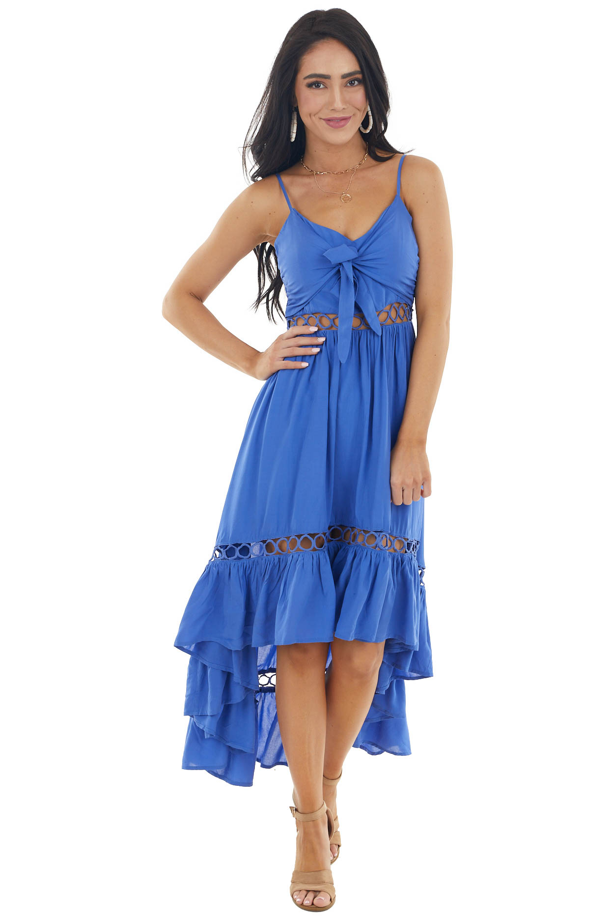 Royal Blue High Low Midi Dress with Tie and Peekaboo Details