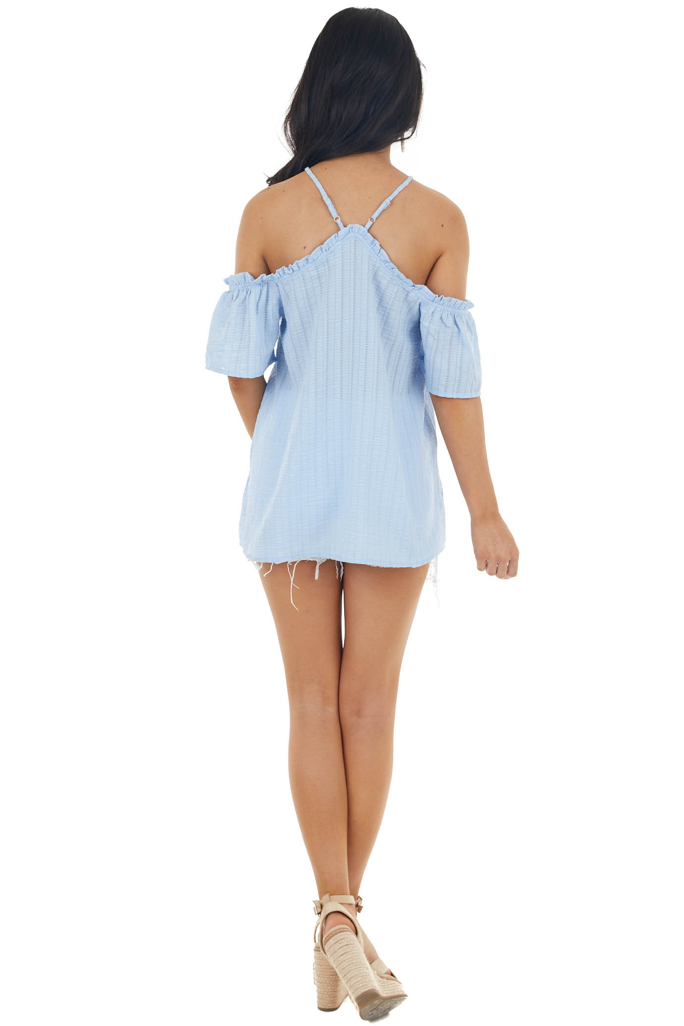 Sky Blue Textured Halter Top with Off The Shoulder Detail