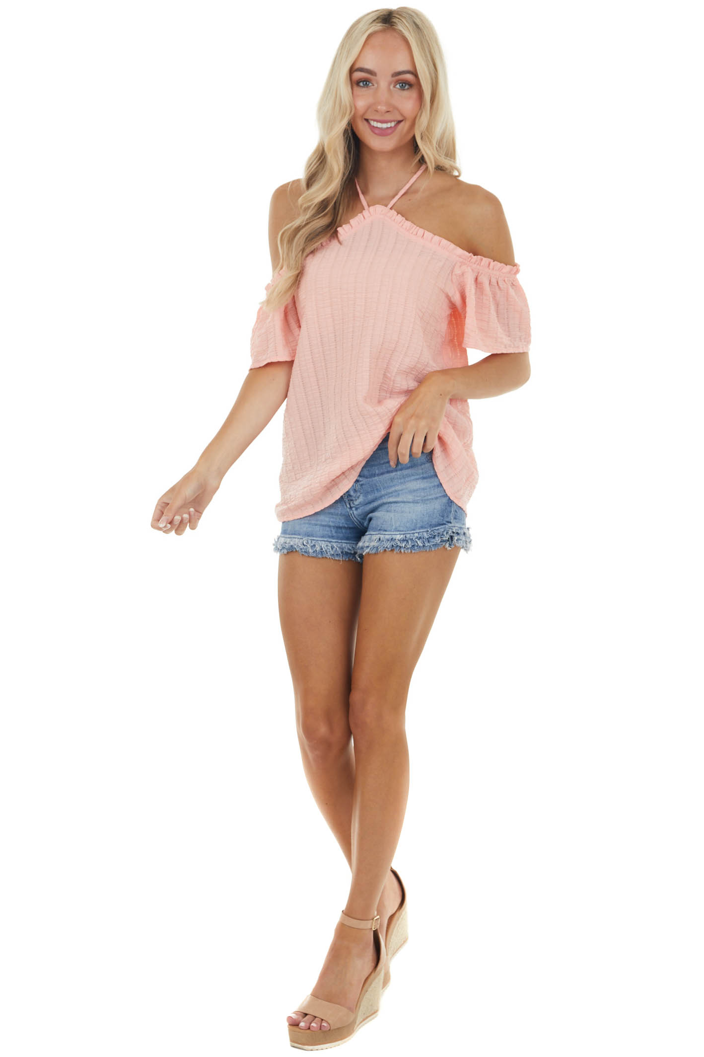 Light Coral Textured Halter Top with Off The Shoulder Detail