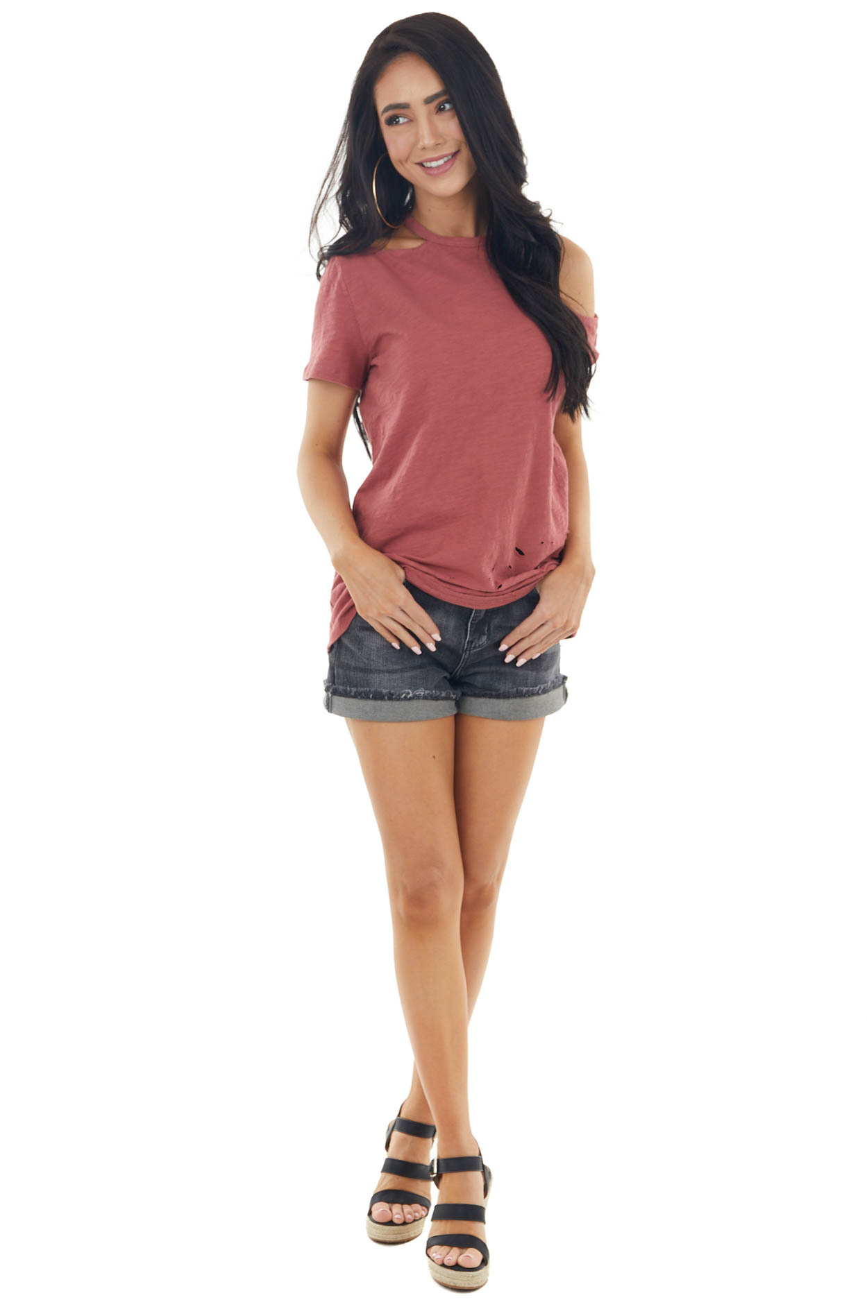 Hibiscus Short Cut Out Sleeve Knit Top with Distressing