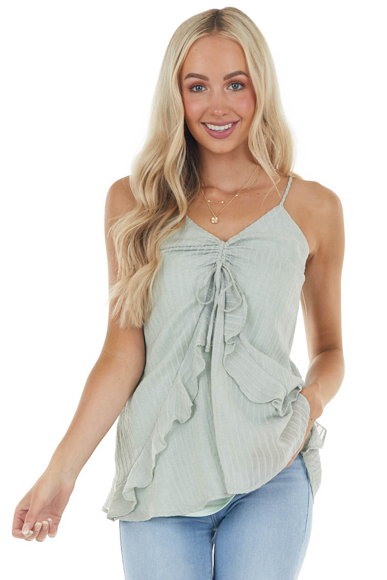 Mint Textured Sleeveless Top with Cinched Ruffle Detail