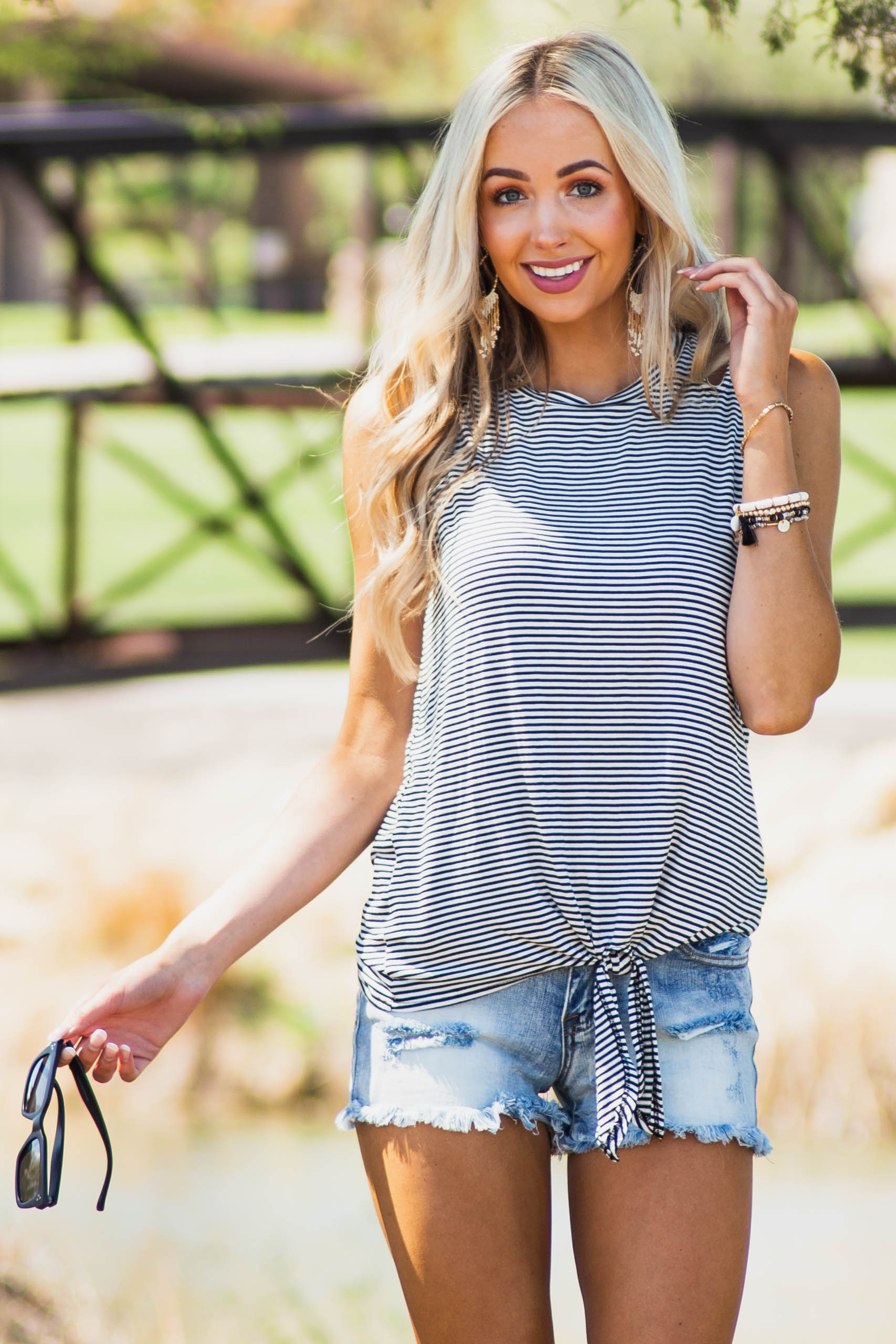 Black Striped Shoulder Cut Out Knit Tank Top with Front Tie
