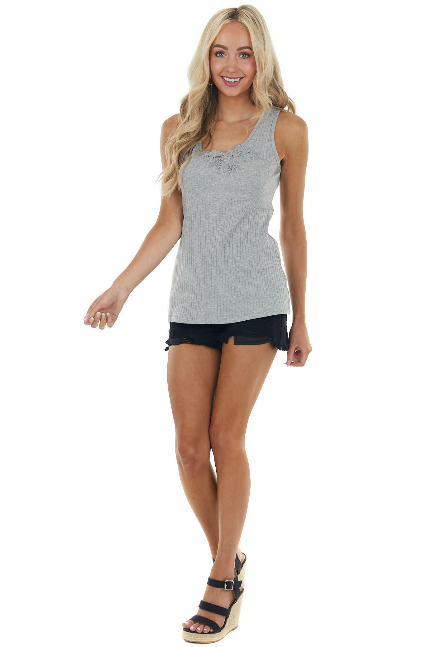 Dove Grey Ribbed Sleeveless Knit Top with Floral Lace Detail