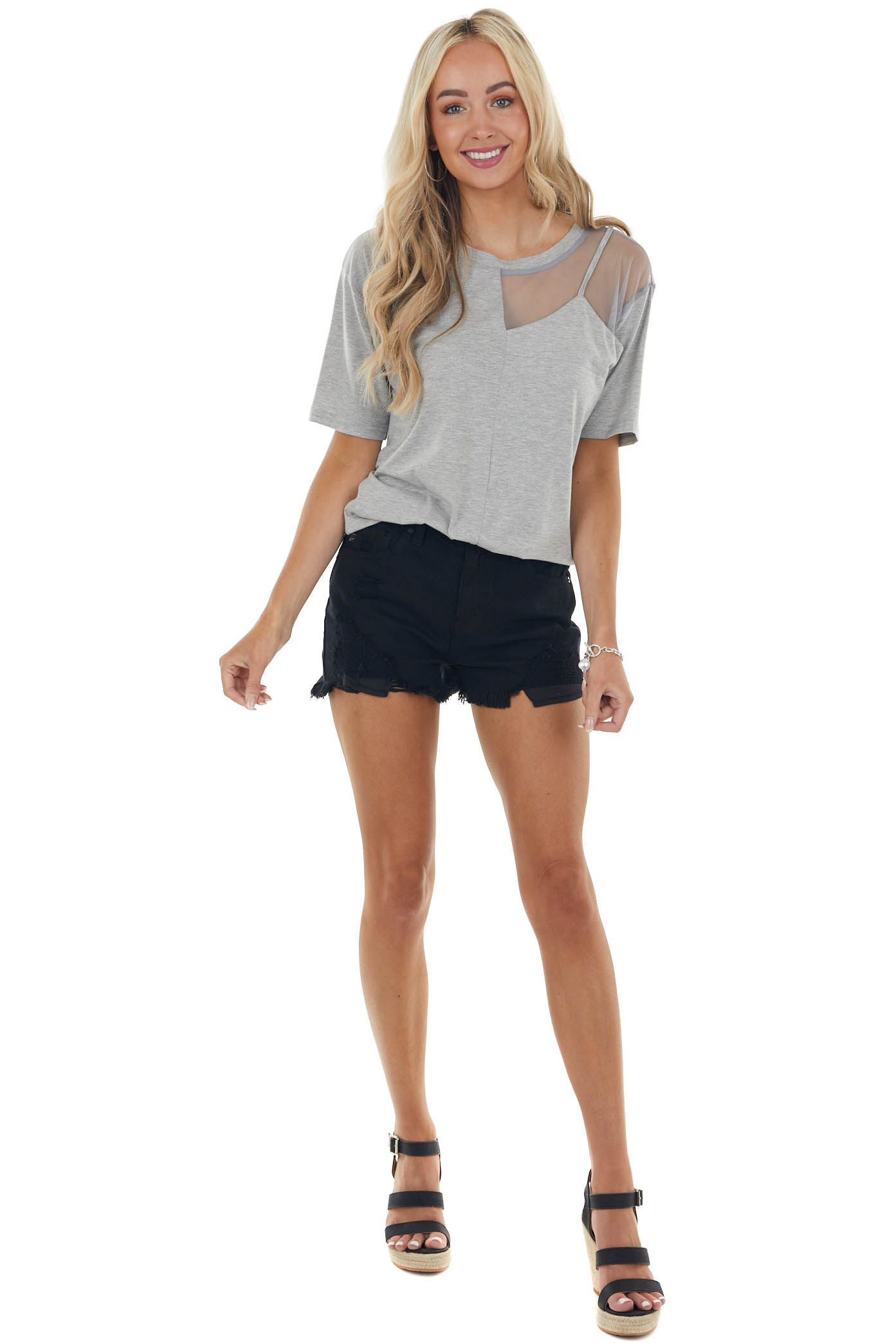Heather Grey Short Sleeve Knit Top with Mesh Detail