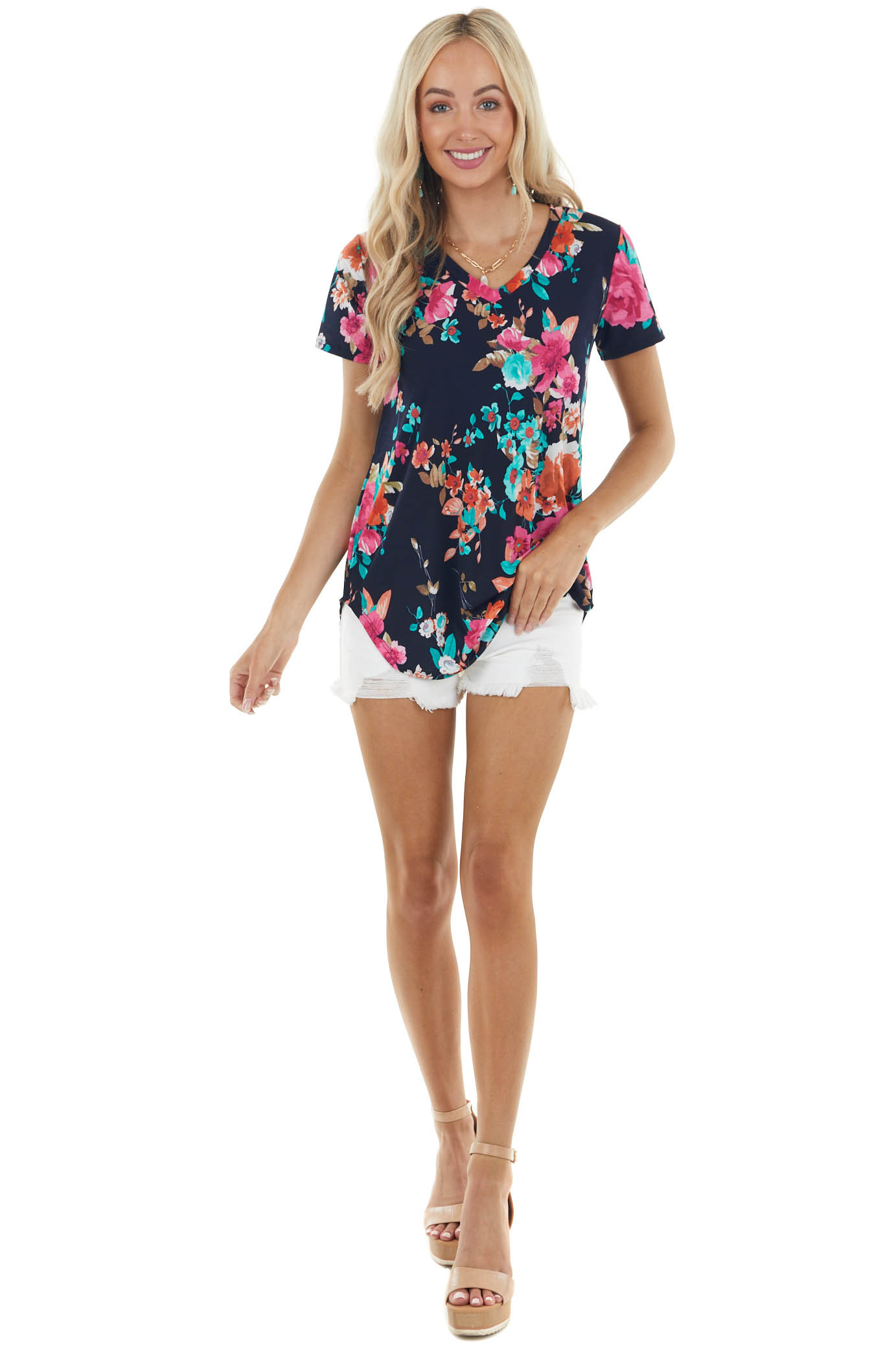 Dark Navy Floral Print V Neck Knit Top with Short Sleeves