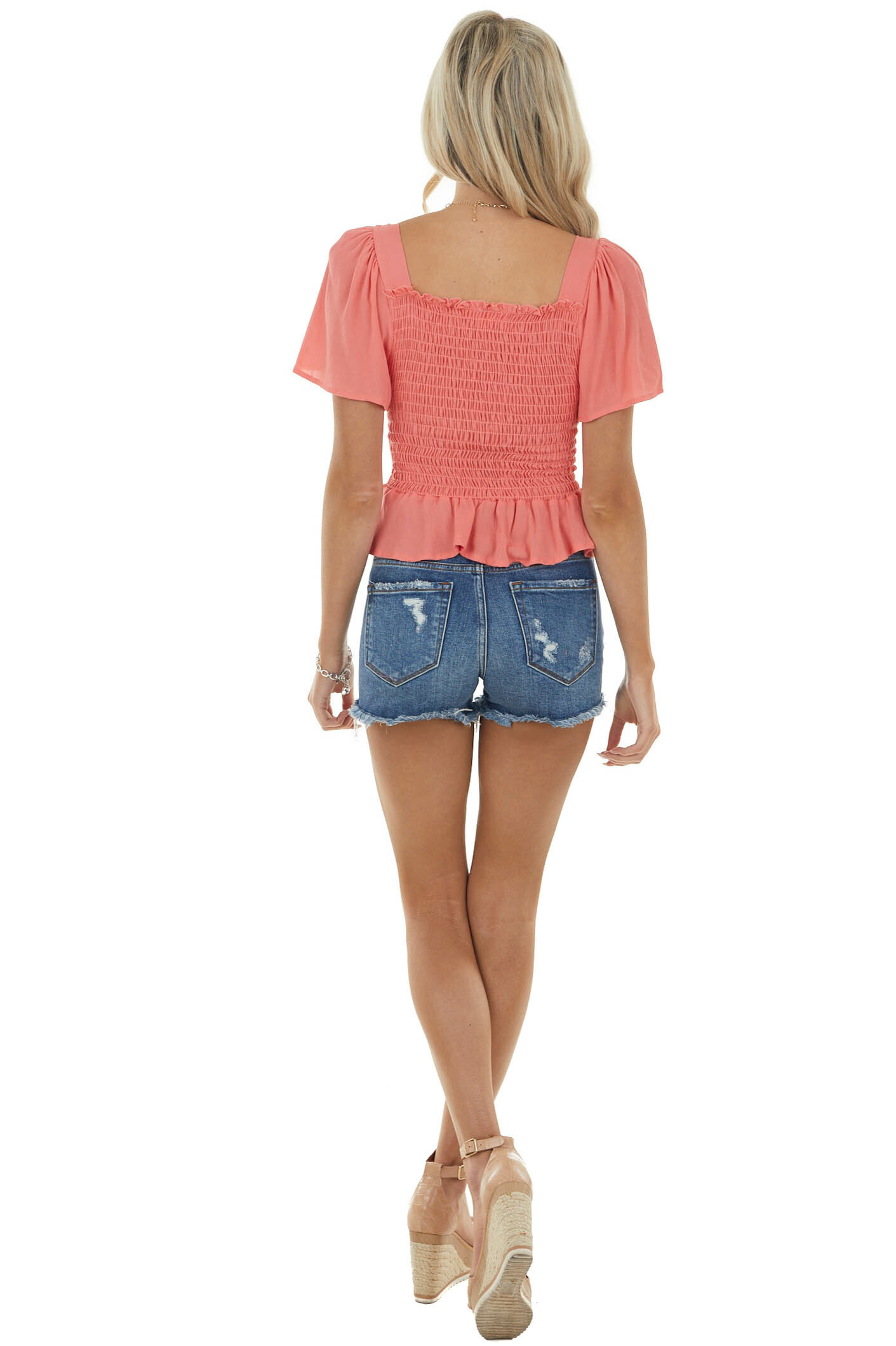 Coral Short Flutter Sleeve Blouse with Smocked Detail