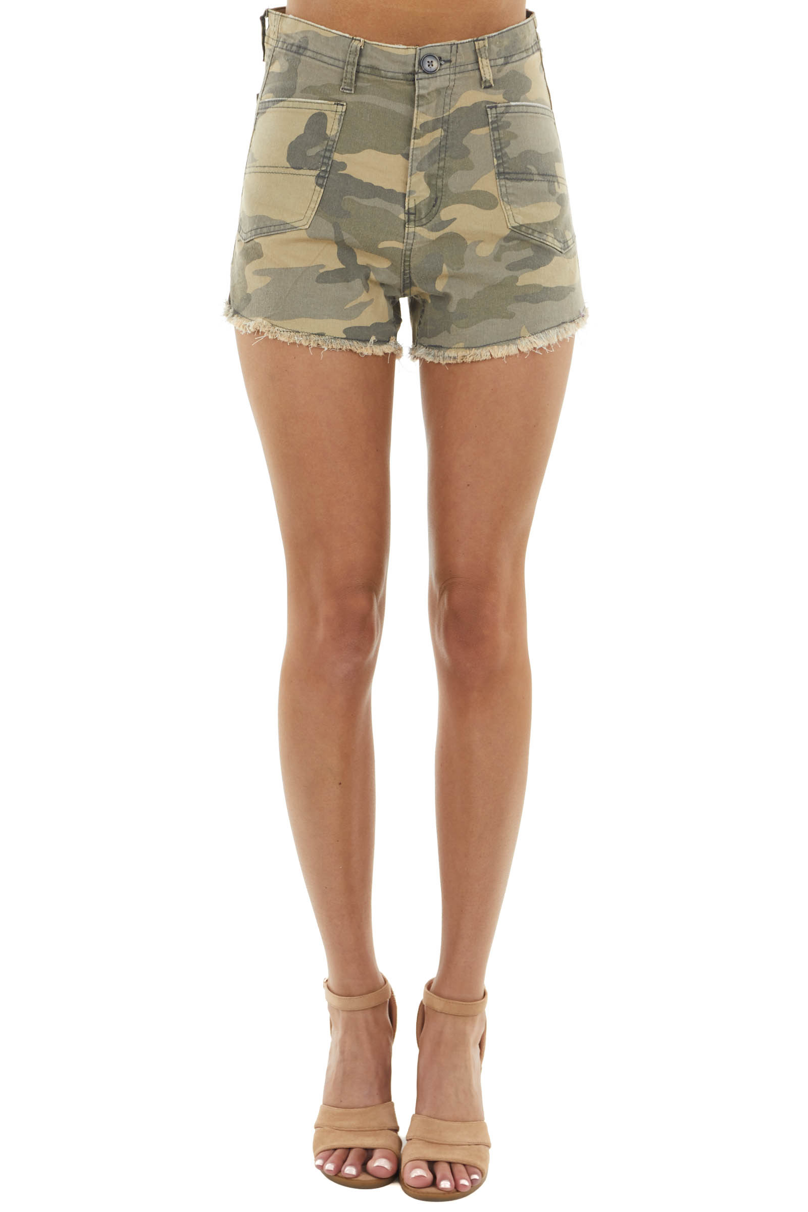 Pistachio Camo High Rise Jean Shorts with Frayed Hem