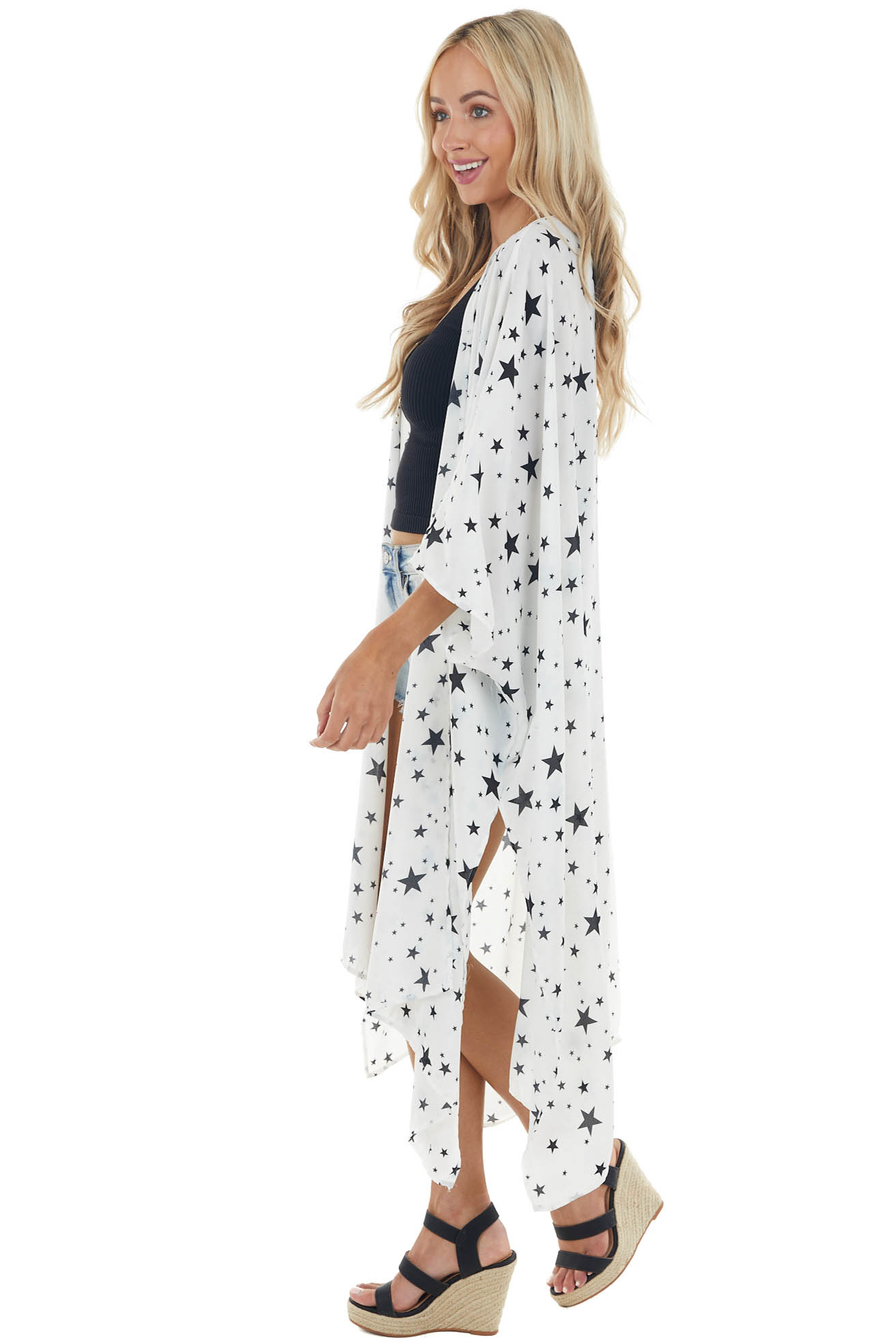 Off White Star Print Midi Length Kimono with Deep Side Slits