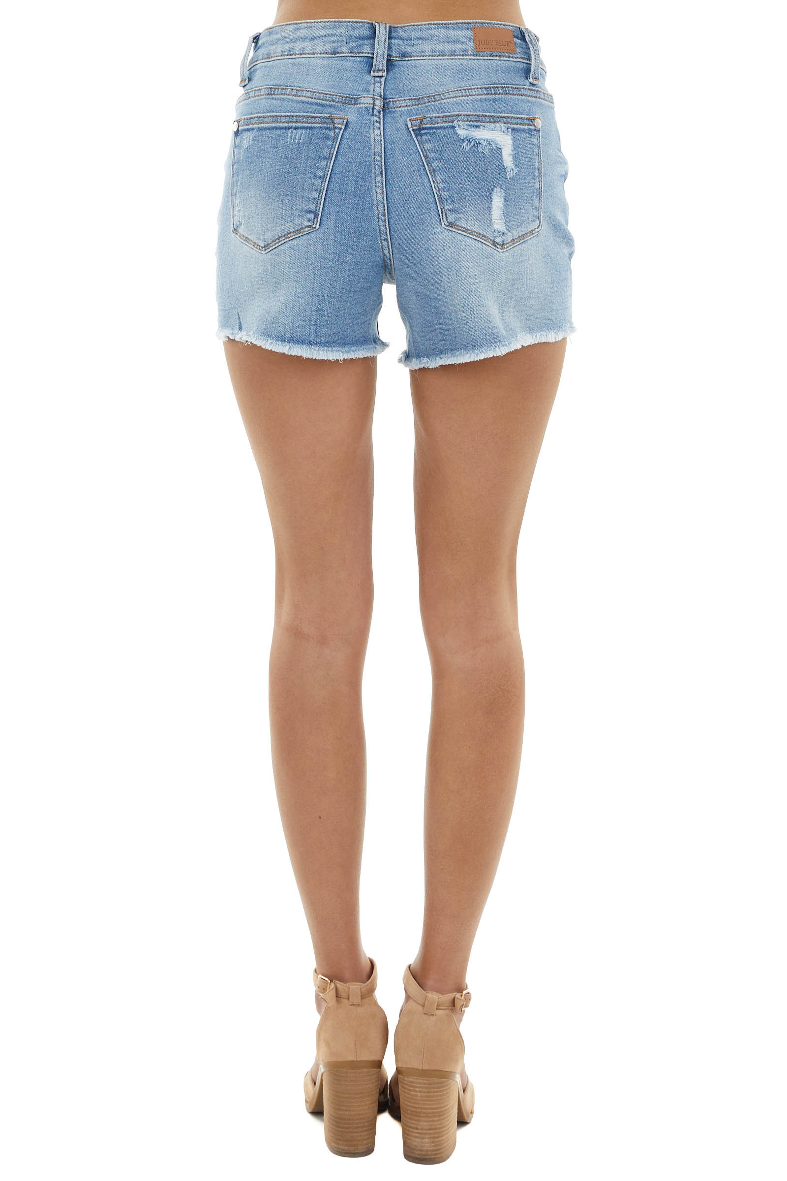 Medium Wash High Rise Distressed Shorts with Lemon Patches