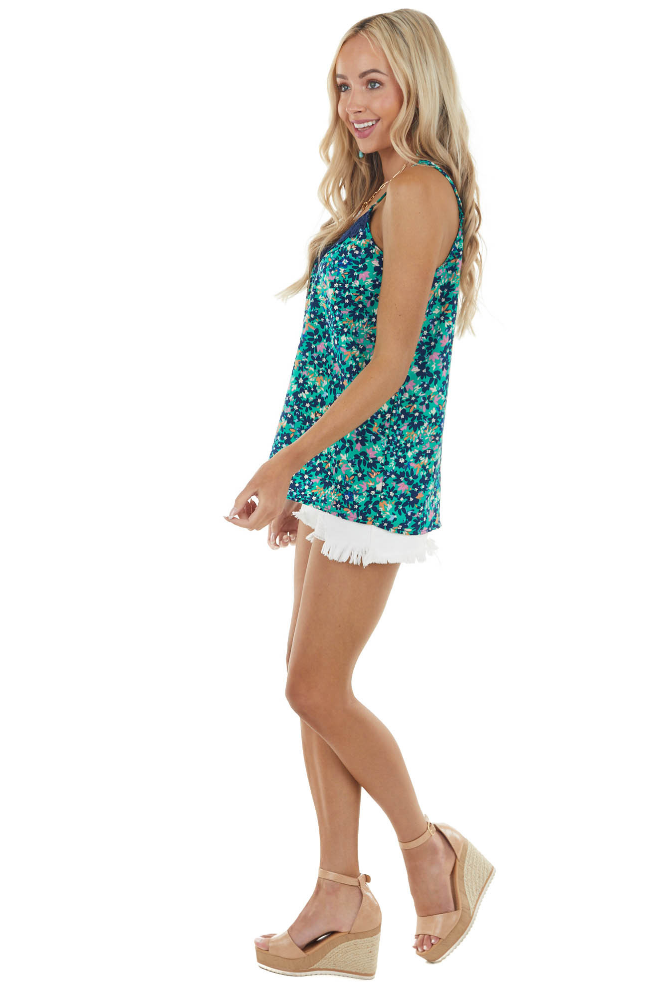 Kelly Green Floral Print Sleeveless Top with Lace Detail