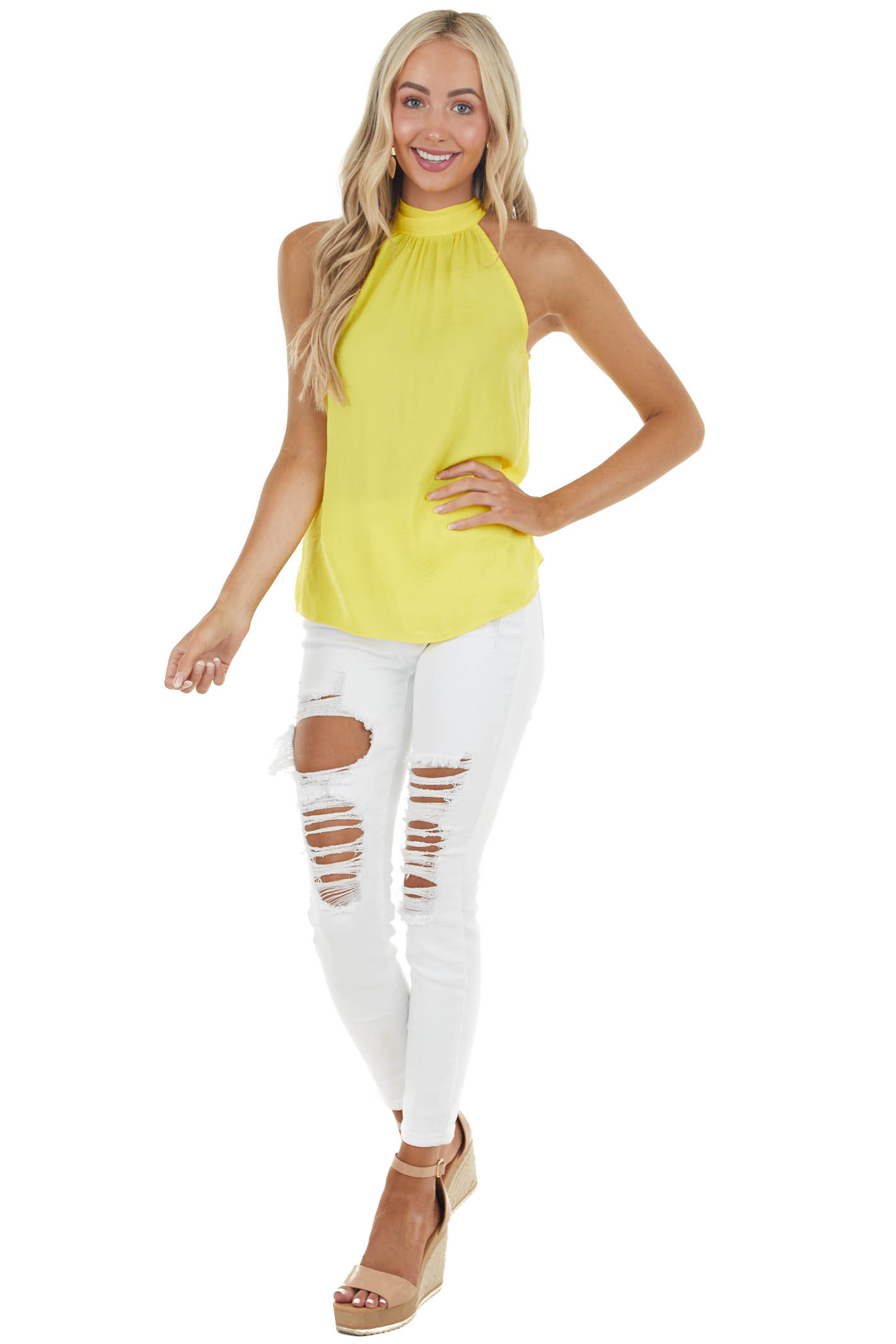 Canary Yellow Halter Neckline Silky Woven Top with Back Tie