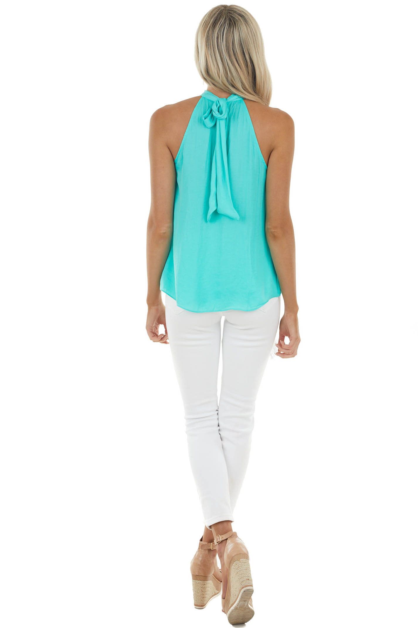 Turquoise Halter Neckline Silky Woven Top with Back Tie