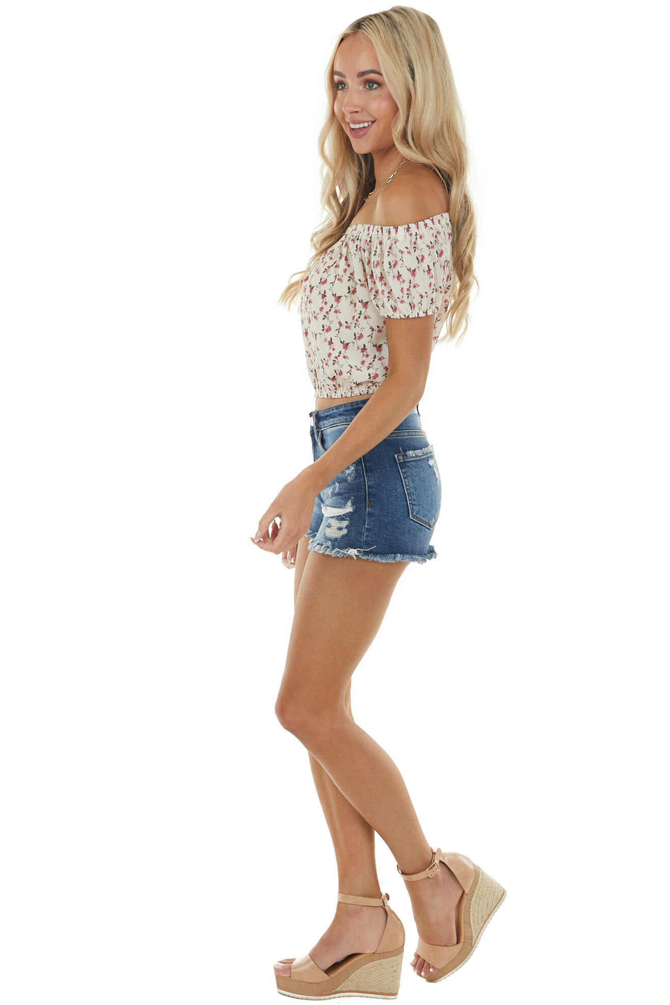 Vanilla and Mulberry Floral Print Off the Shoulder Blouse