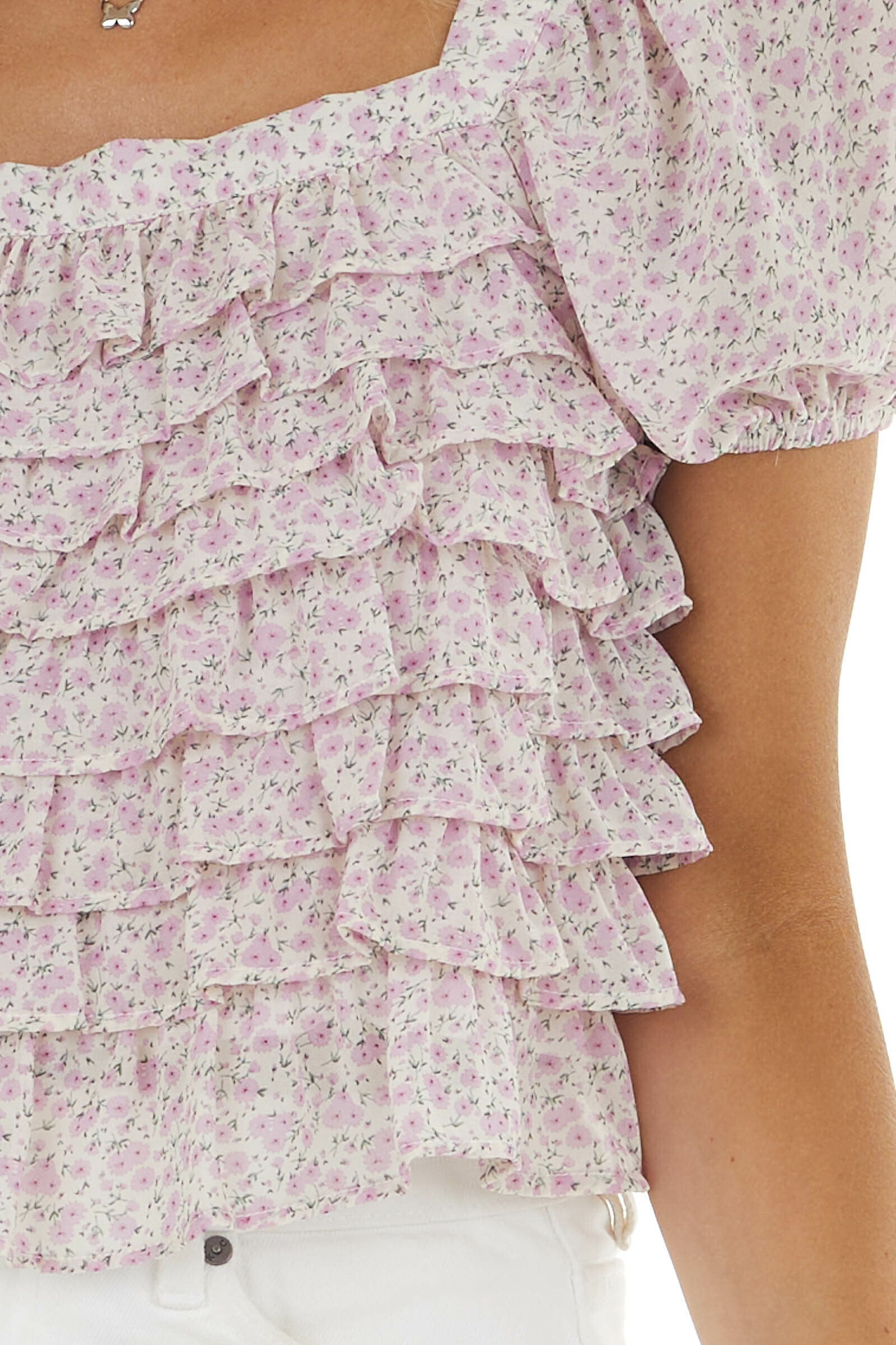Champagne Ditsy Floral Print Ruffle Short Sleeve Crop Top