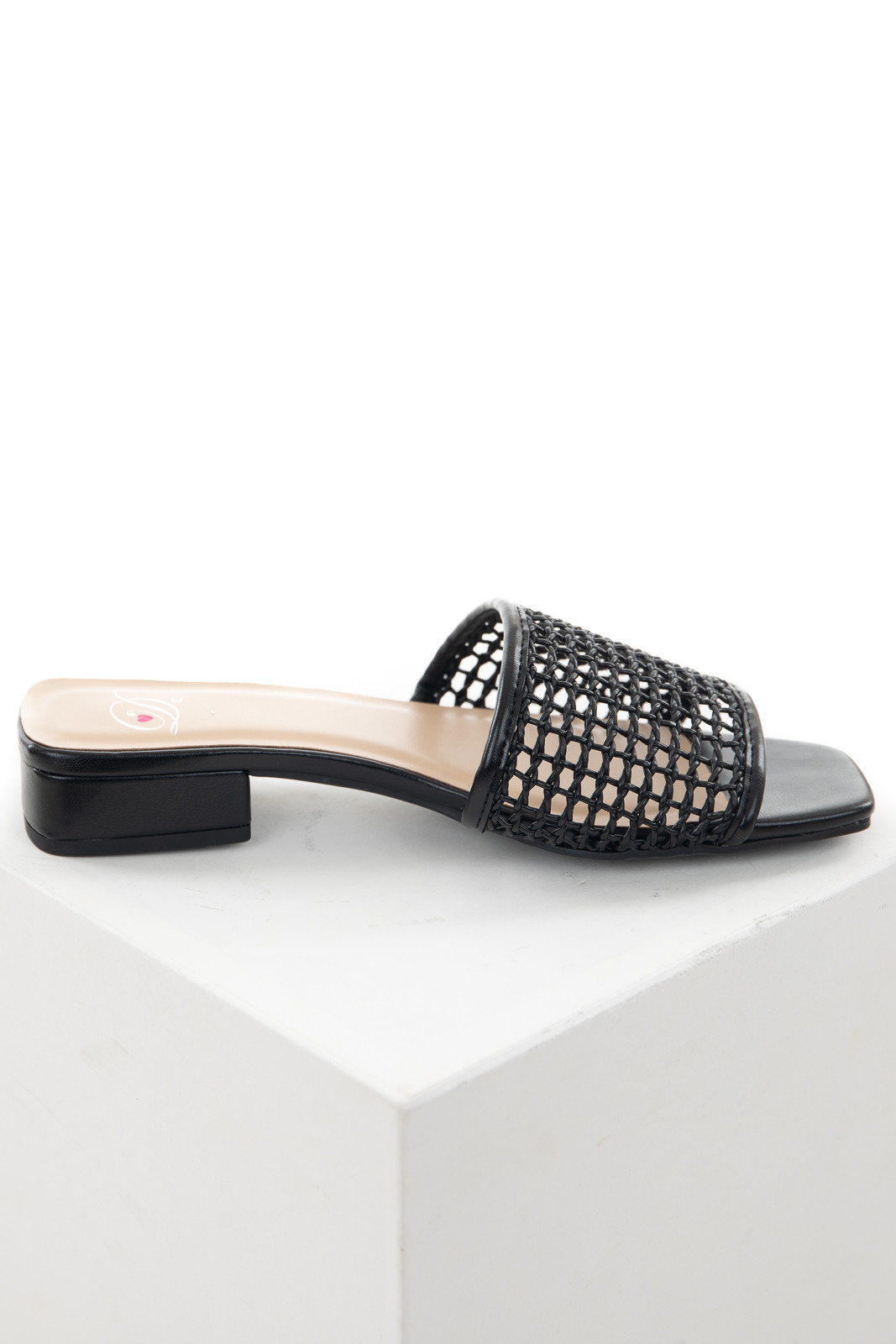 Black Loose Woven Strap Slip On Sandals with Low Heel