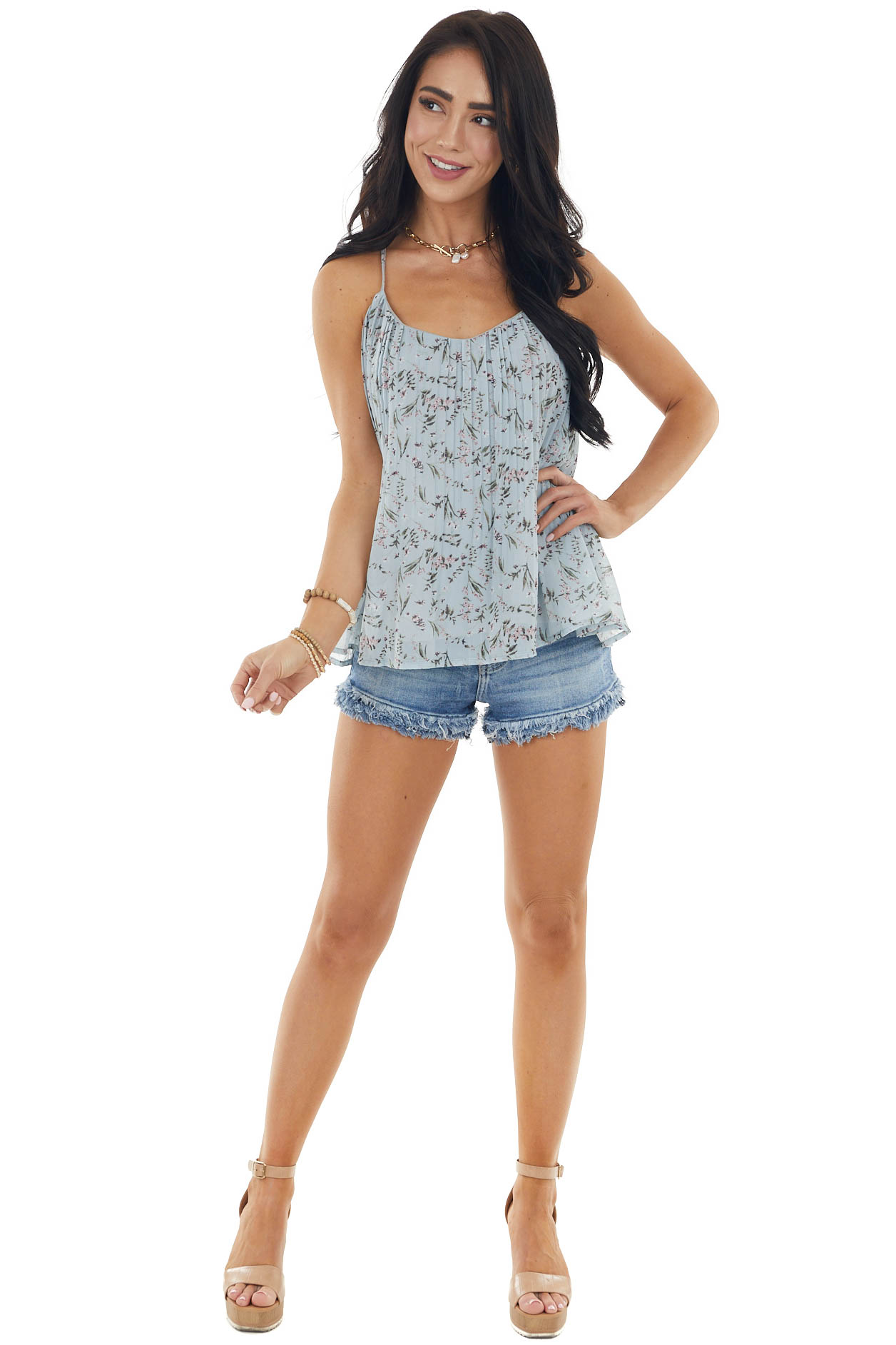 Dove Grey Floral Print Pleated Racerback Sleeveless Blouse