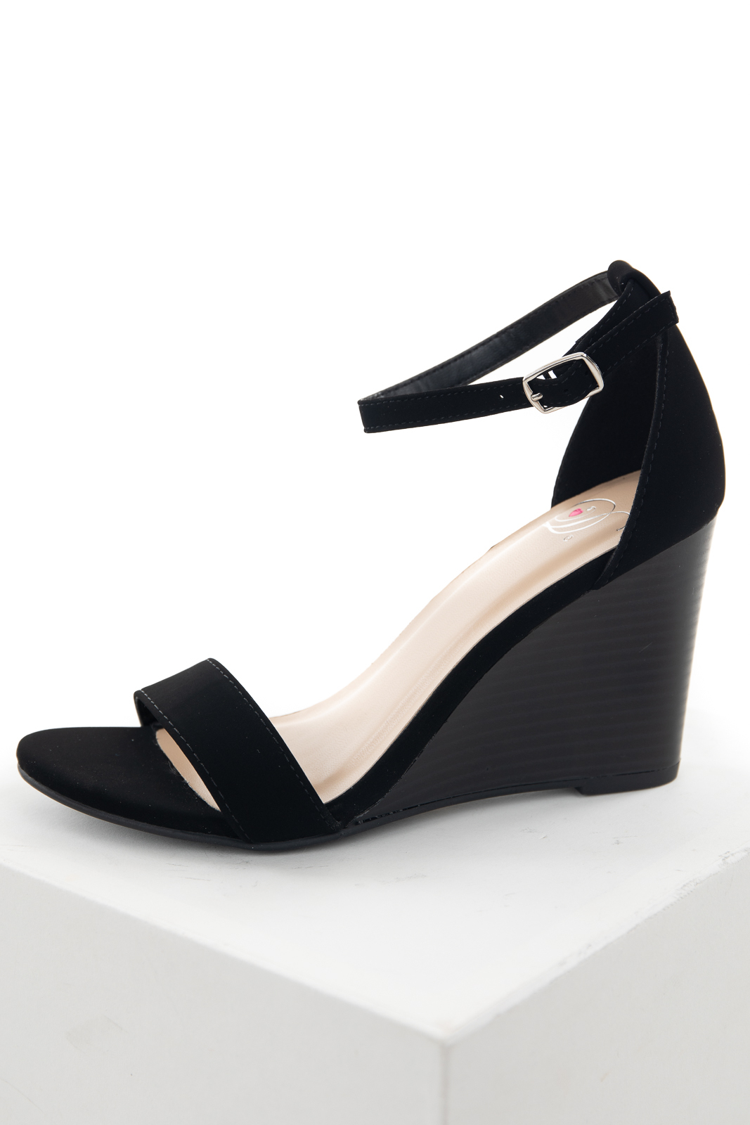 Black Faux Suede Ankle Strap Wedge Heels with Buckle Closure