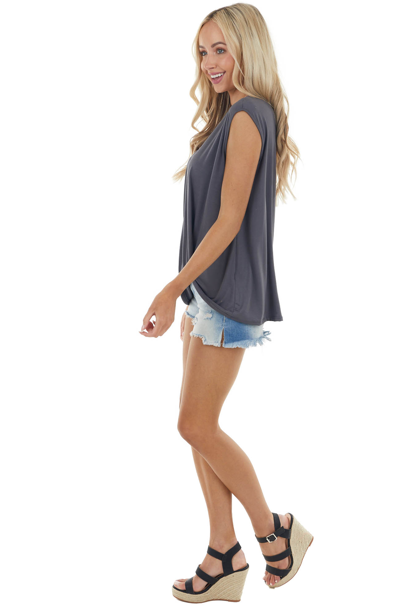 Graphite Sleeveless Knit Muscle Tank Top with Front Knot