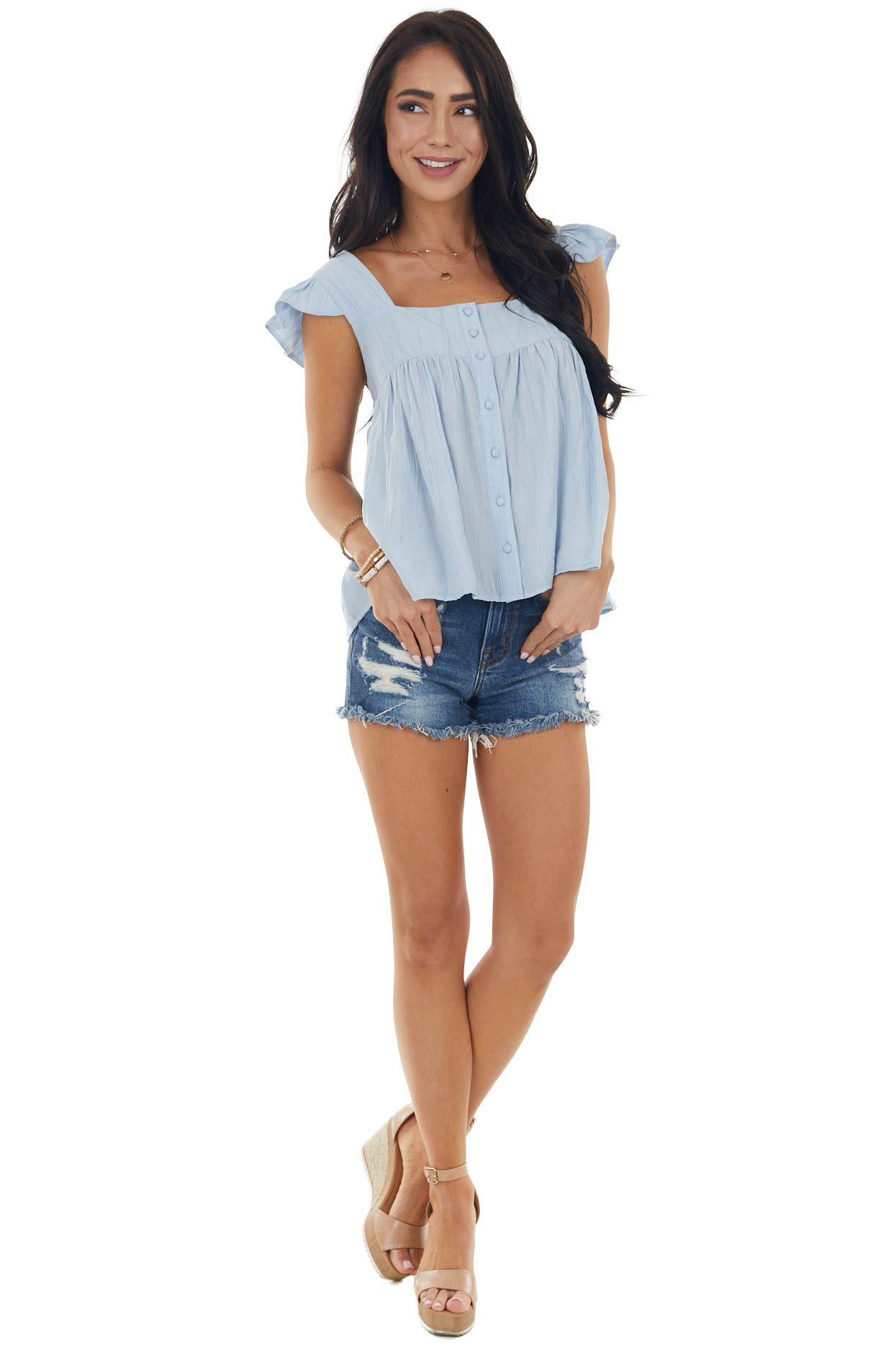 Sky Blue Textured Cap Sleeve Woven Top with Button Detail