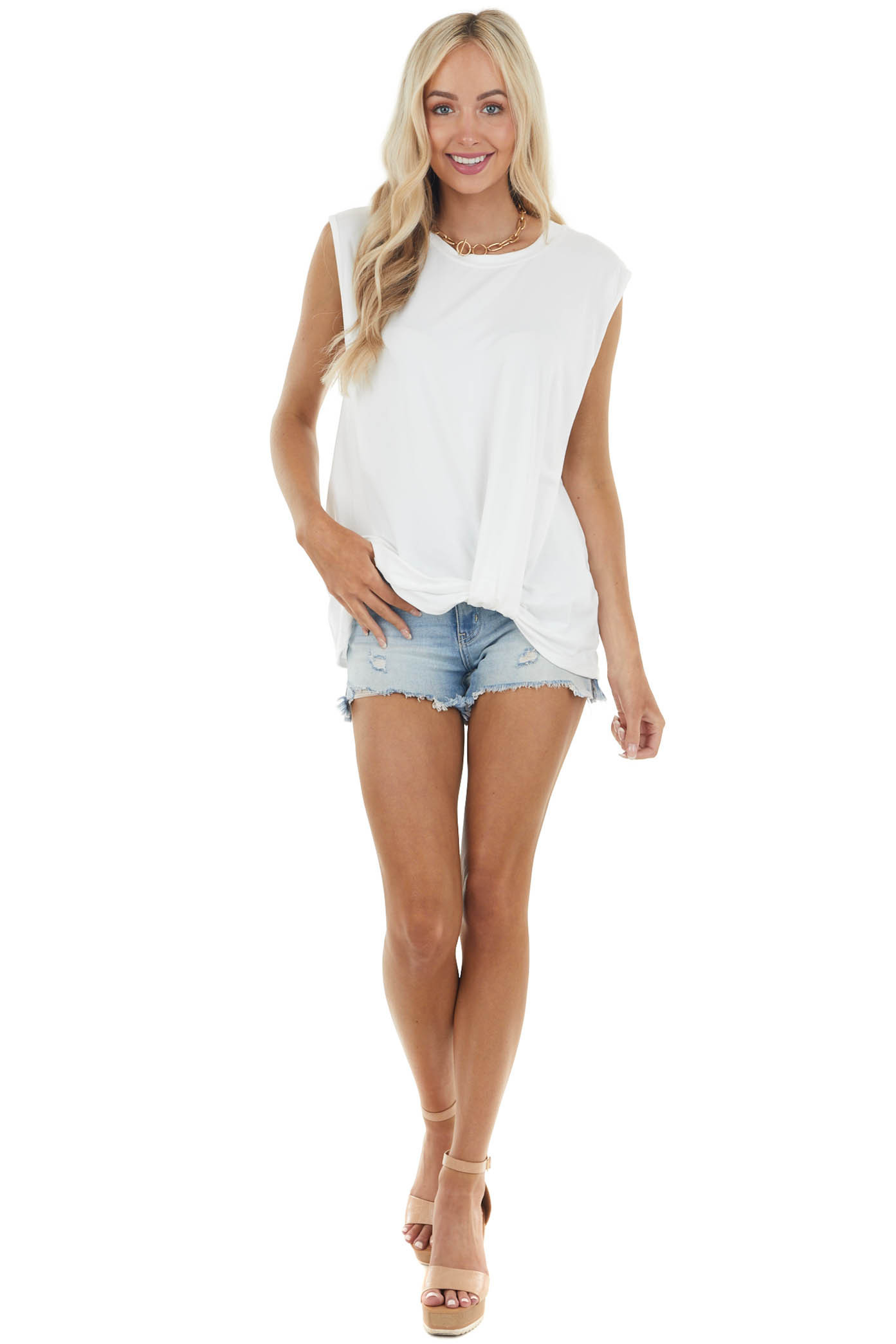 Ivory Sleeveless Knit Muscle Tank Top with Front Knot