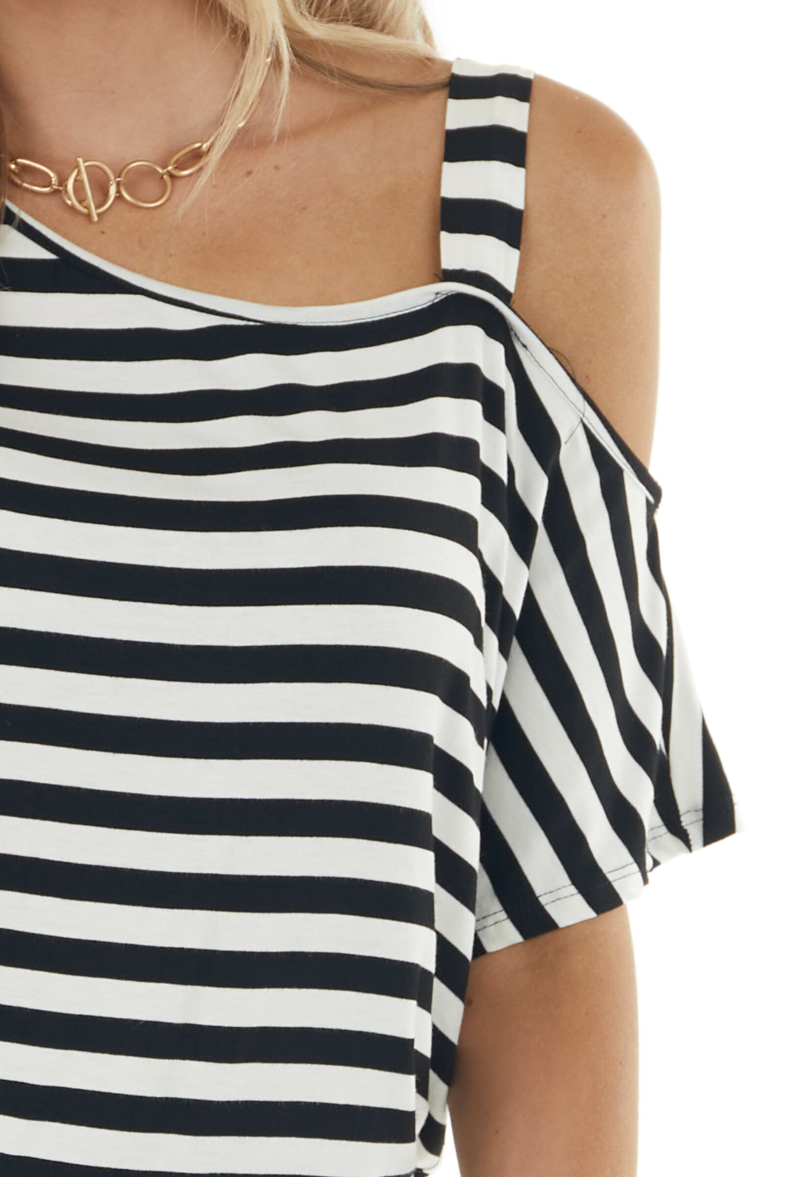 Black and Ivory Striped One Cold Shoulder Knit Top with Tie