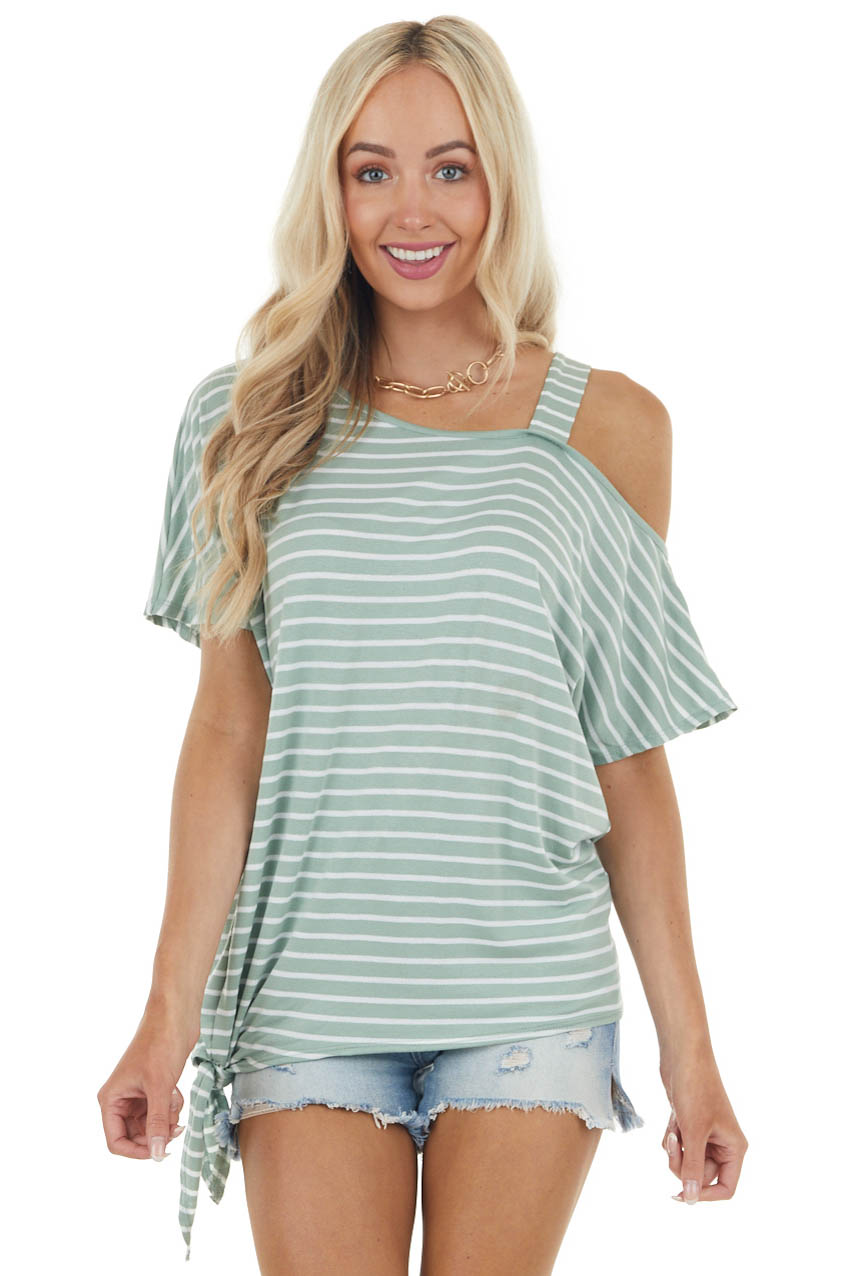 Sage and Ivory Striped One Cold Shoulder Knit Top with Tie