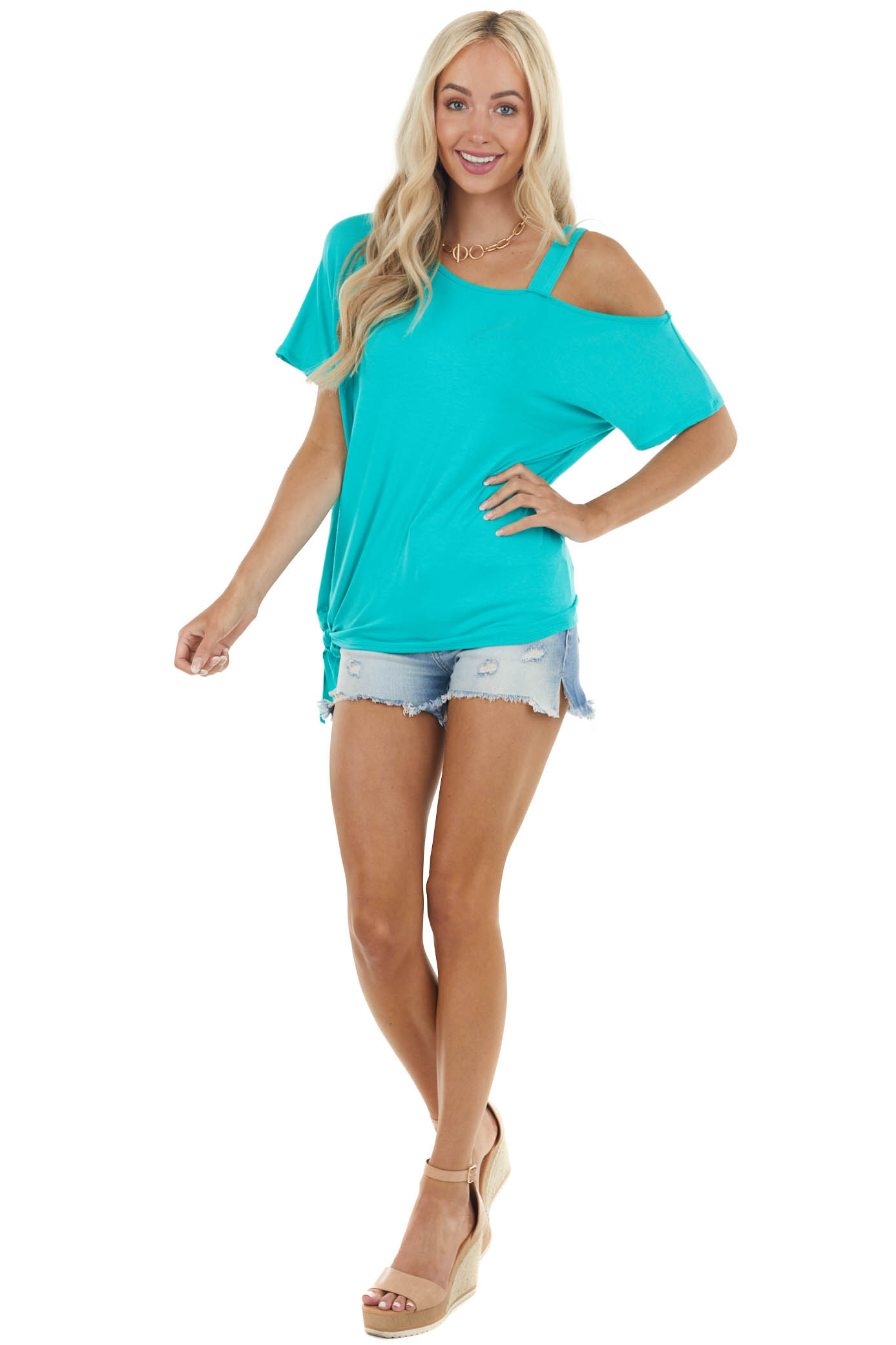 Deep Turquoise Single Cold Shoulder Knit Top with Front Tie