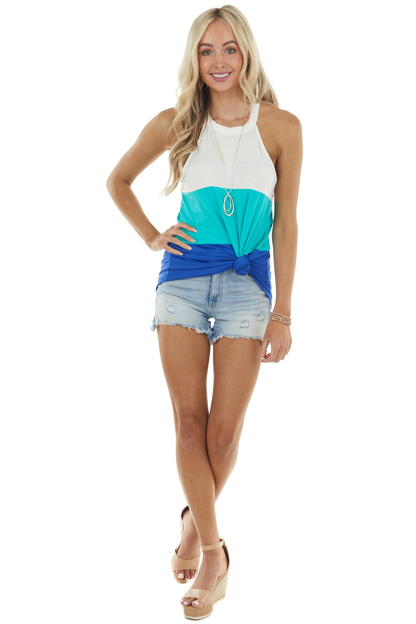 Deep Turquoise Colorblock Halter Neckline Stretchy Knit Top
