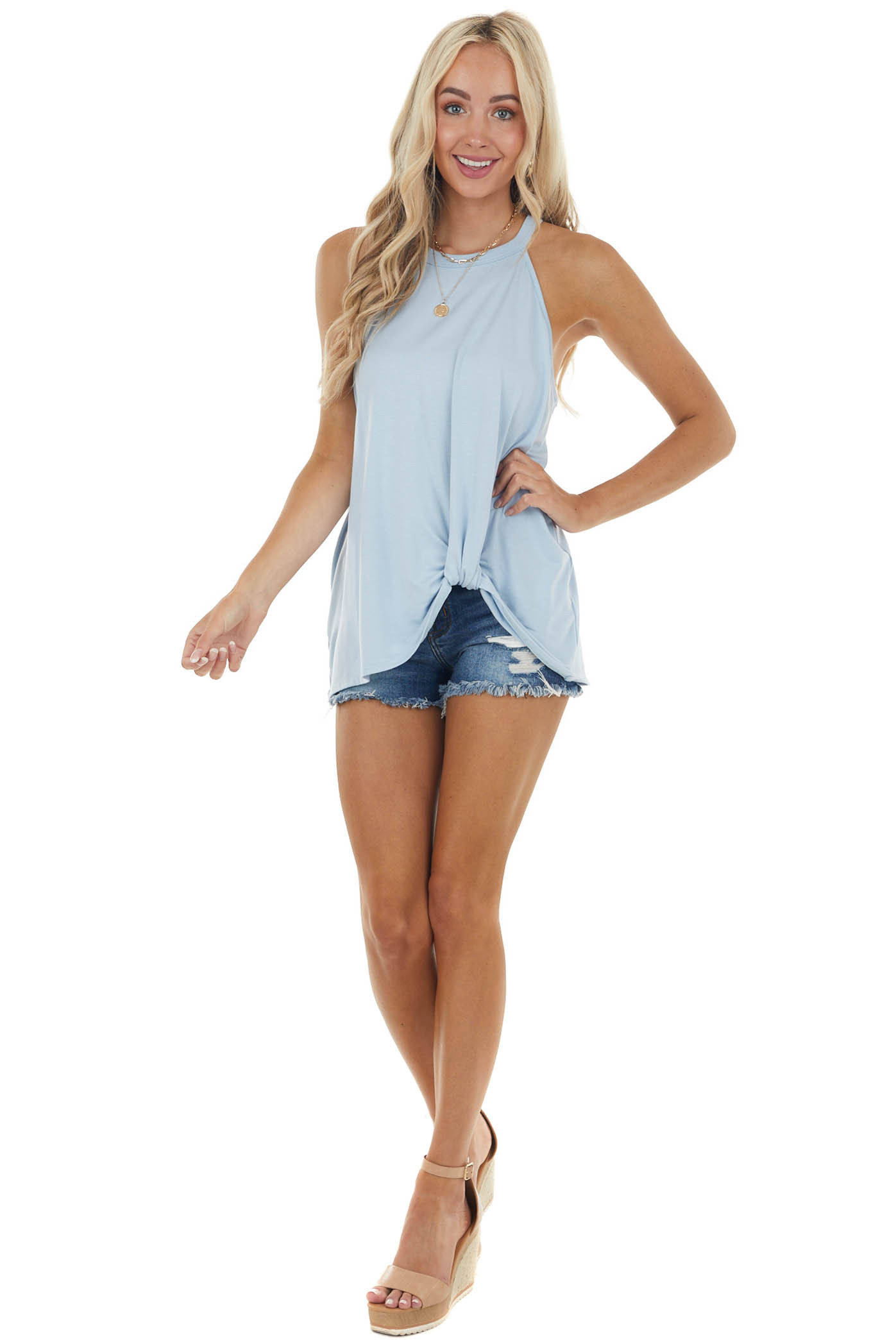 Powder Blue Front Twist Stretchy Knit Top with Halter Neck