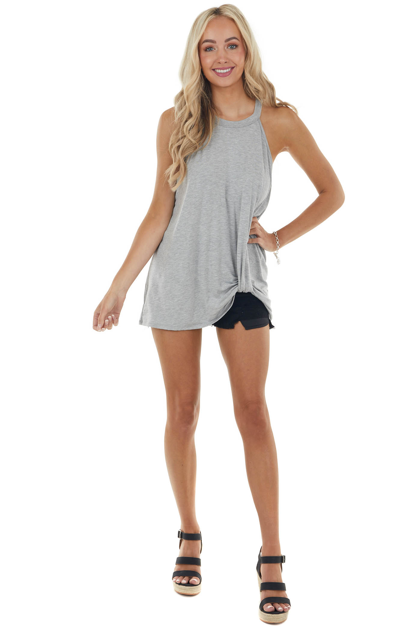 Heather Grey Front Twist Stretchy Knit Top with Halter Neck