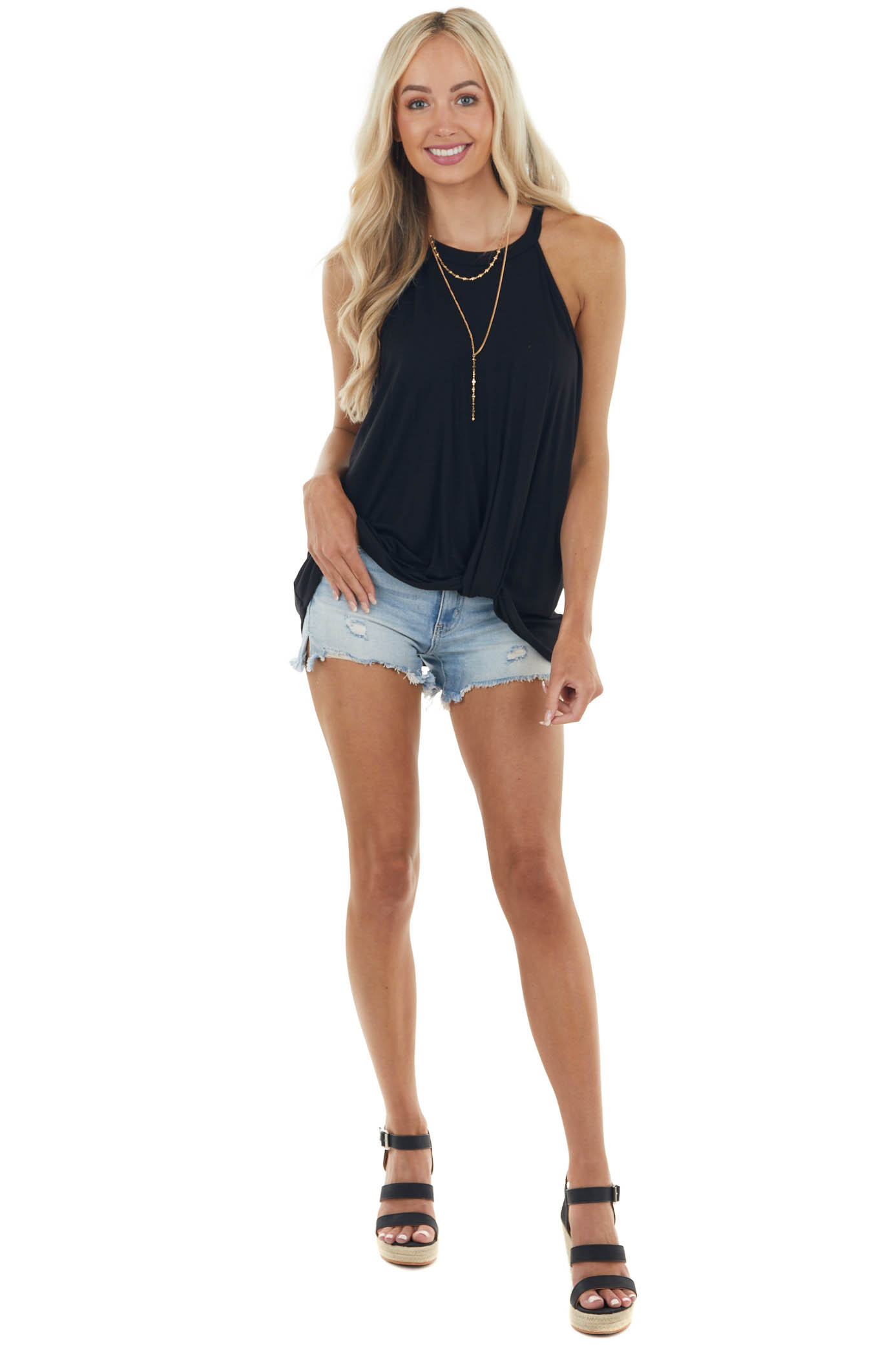 Black Front Twist Stretchy Knit Top with Halter Neck