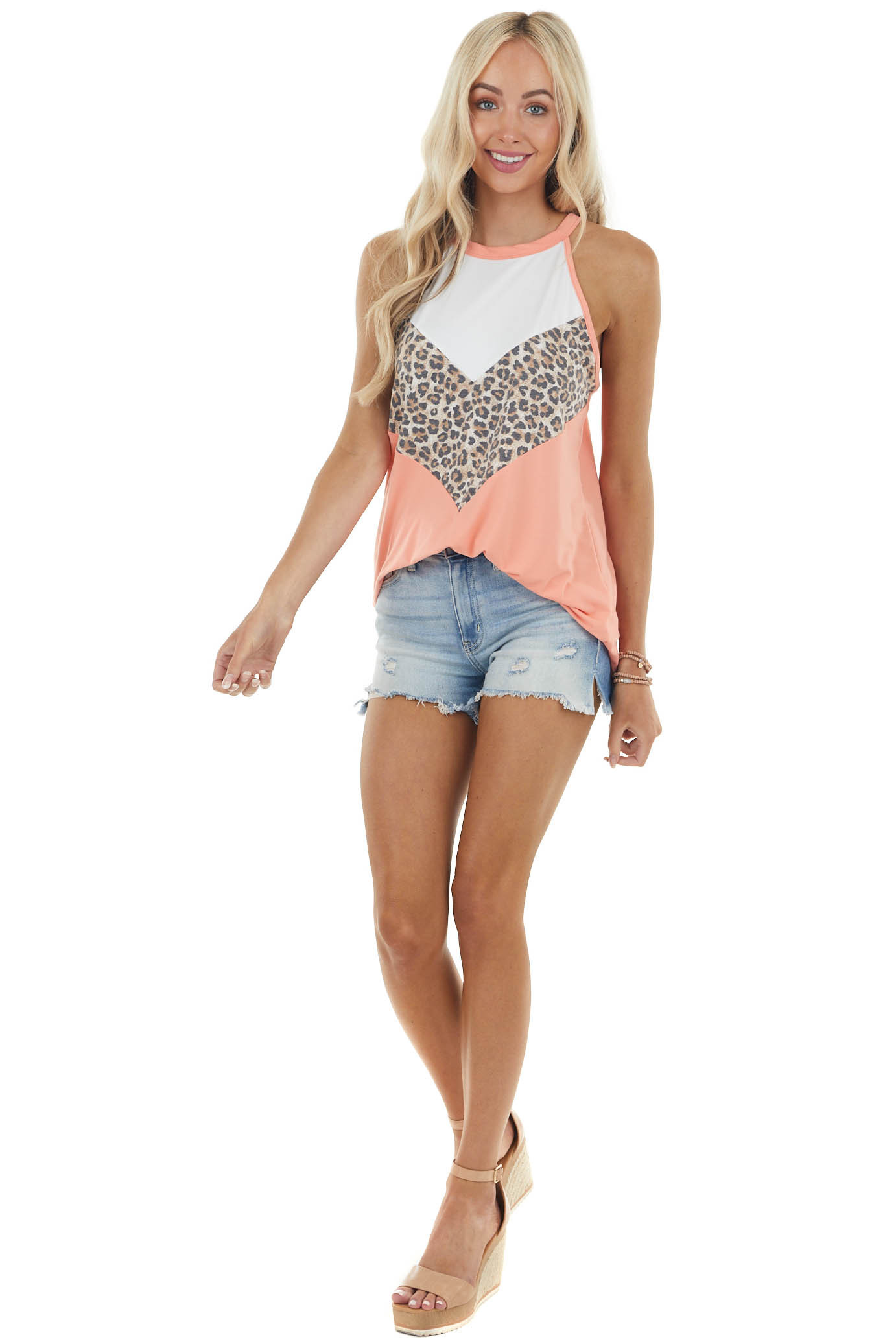 Coral and Leopard Chevron Colorblock Halter Neck Knit Top