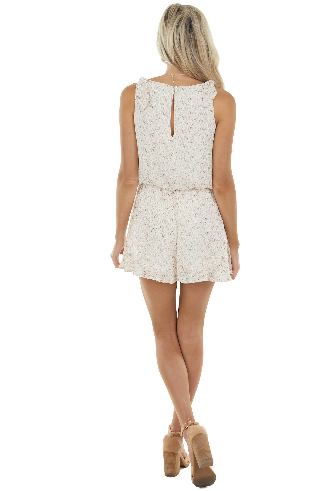 Champagne Ditsy Floral Sleeveless Romper with Back Keyhole