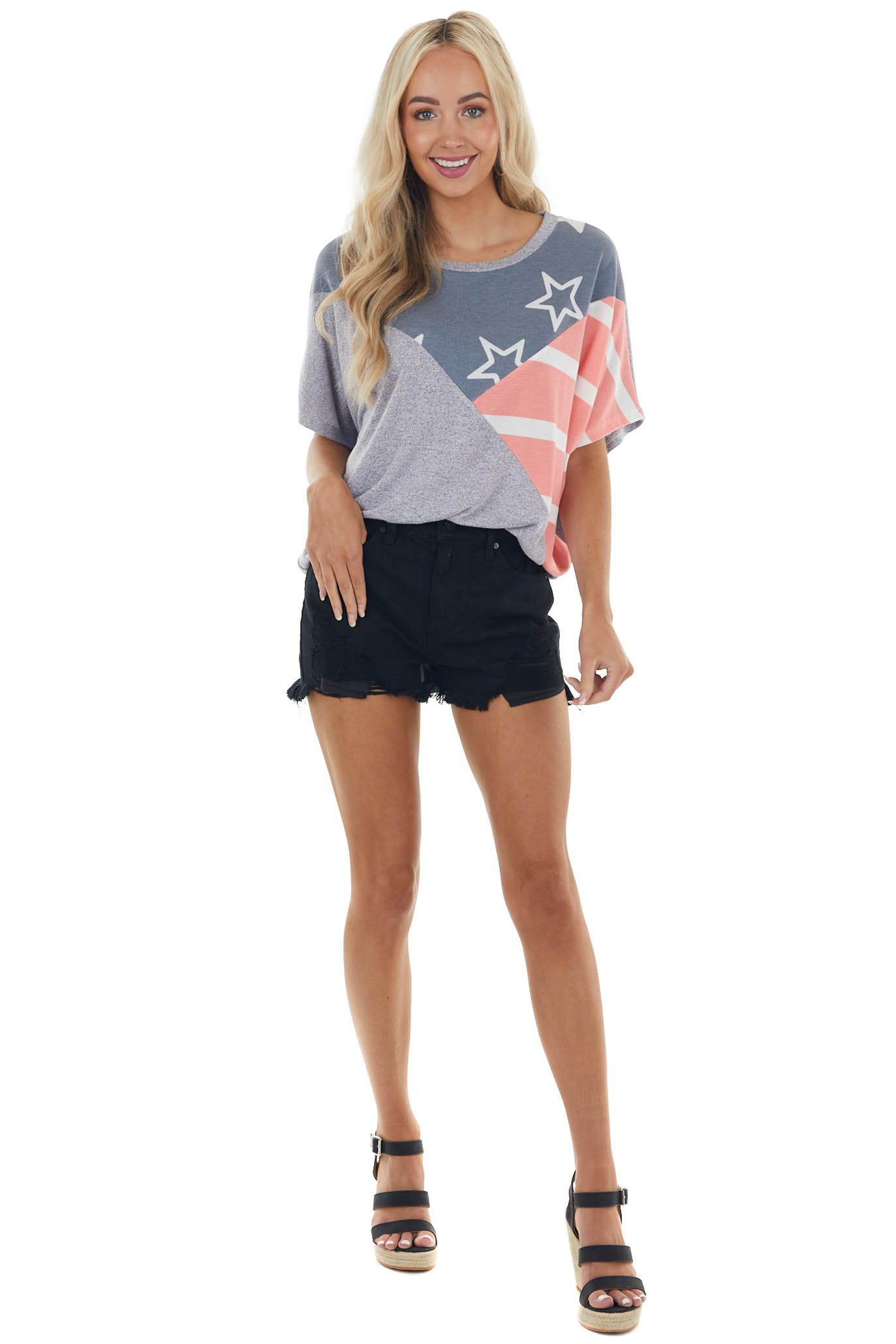 Slate Blue Stars and Stripes Knit Top with Dolman Sleeves