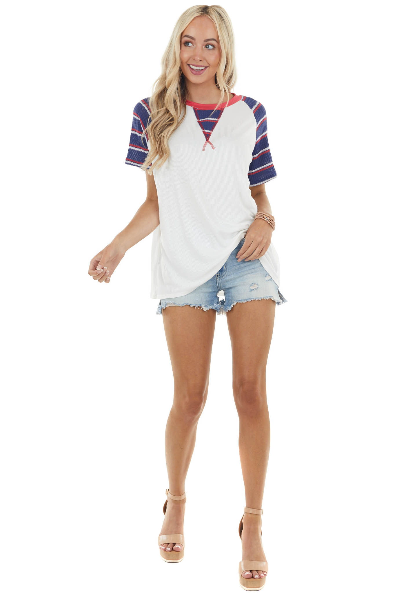 Pearl White Ribbed Knit Top with Short Contrasting Sleeves