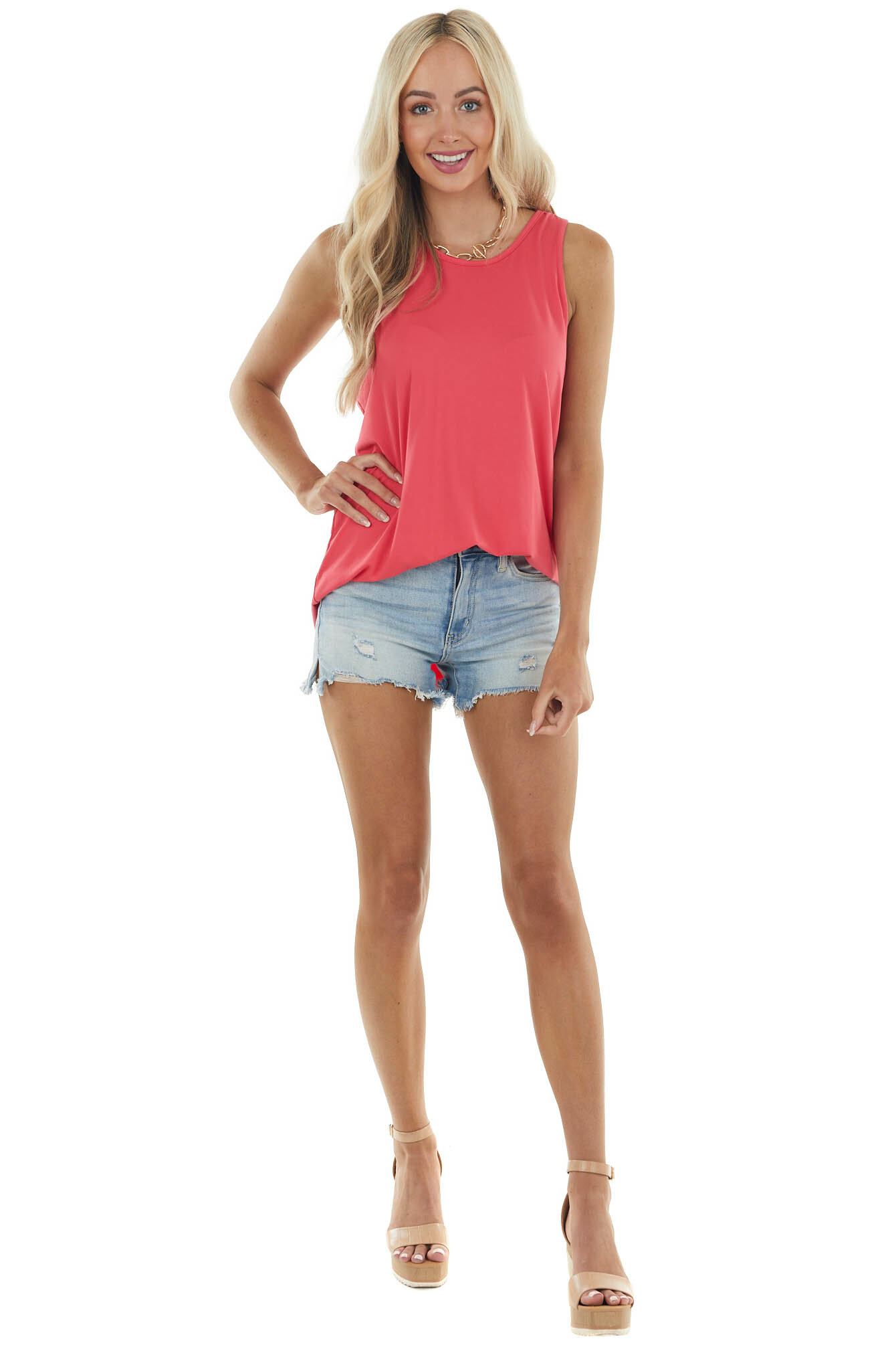 Raspberry Twisted Racerback Stretchy Knit Tank Top