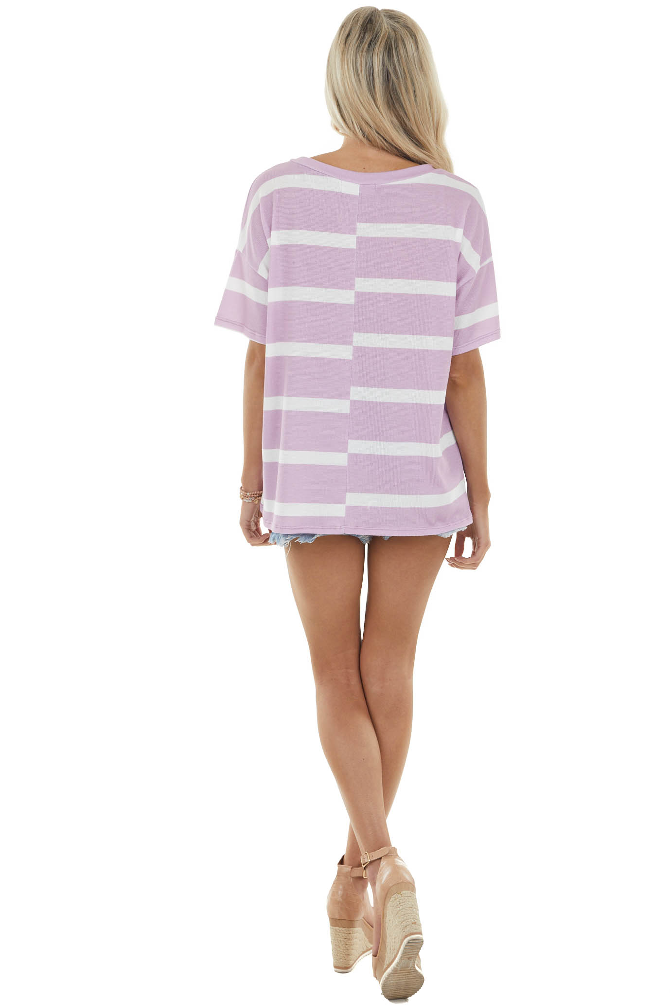 Orchid and Ivory Striped Short Sleeve Knit Top with V Stitch