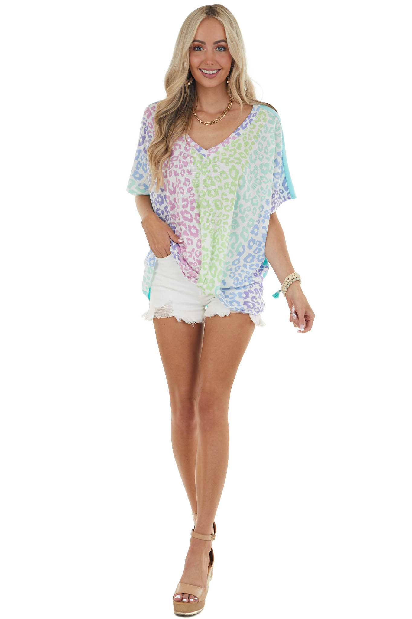 Turquoise Multicolor Leopard Knit Top with Twist Detail