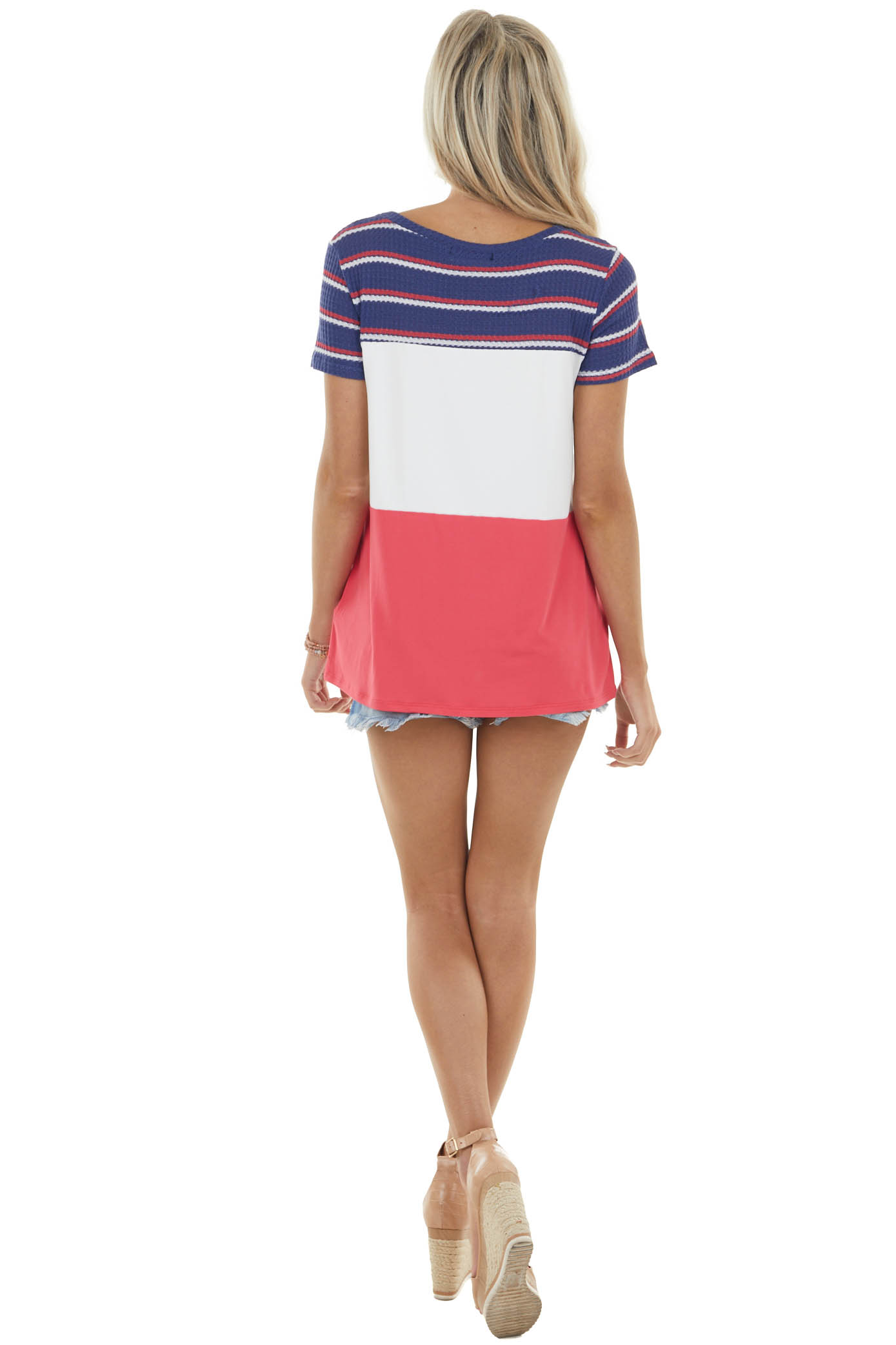 Catalina Blue and Ruby Colorblock Waffle Knit Contrast Top