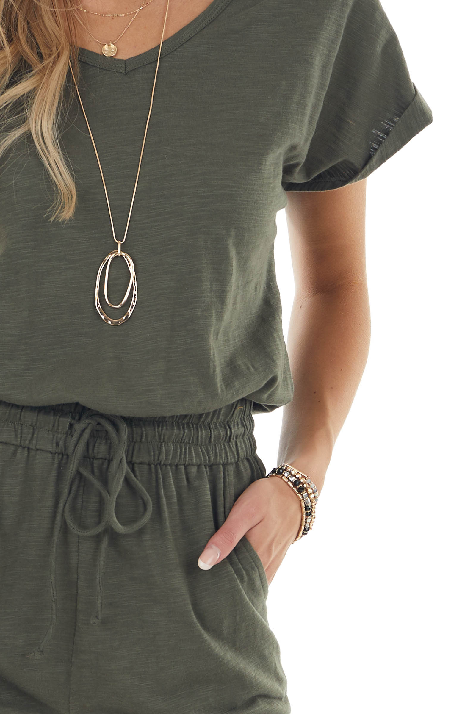 Deep Olive Short Sleeve Knit Jumpsuit with Waist Drawstring