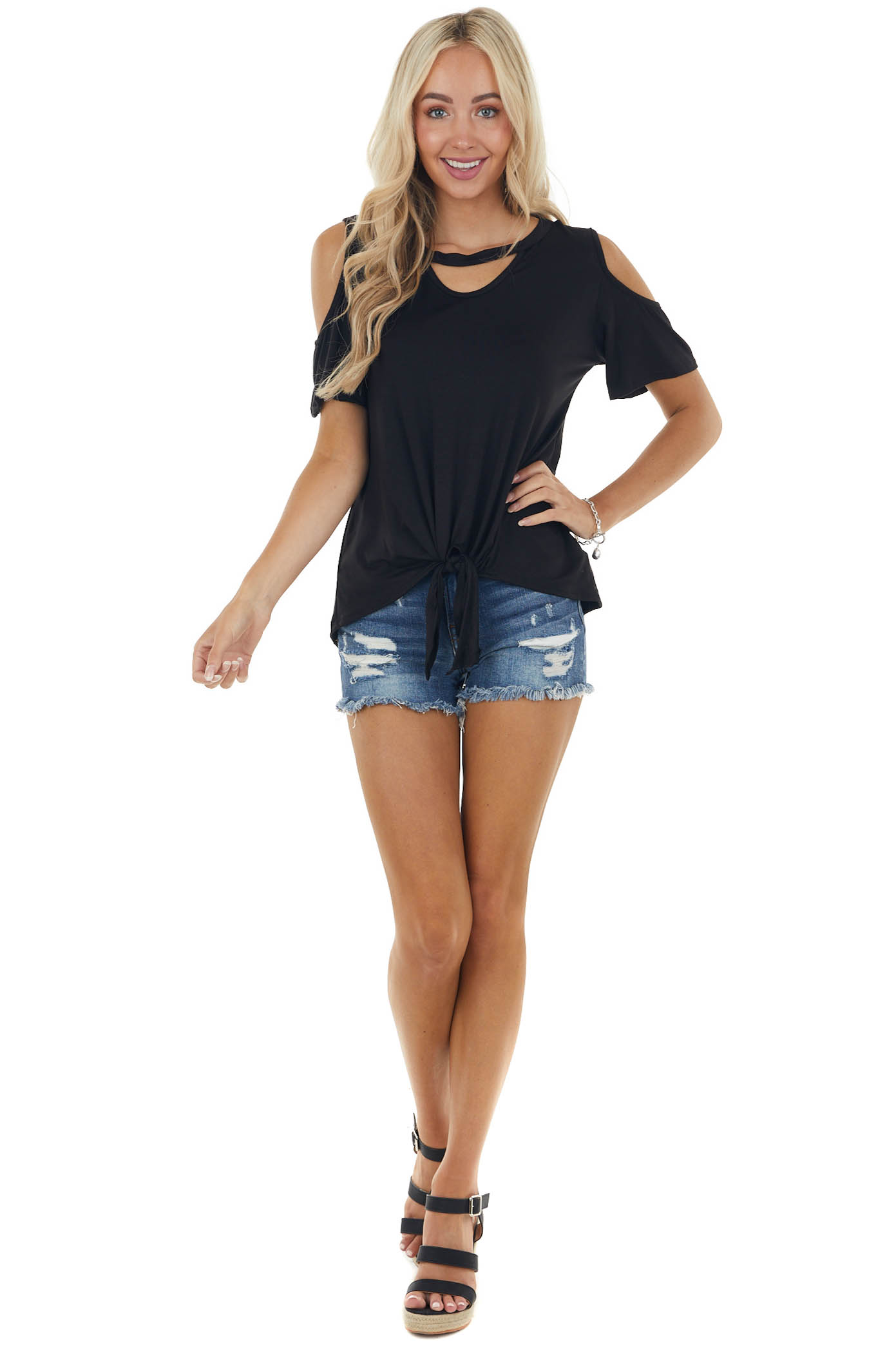 Black Short Sleeve Knit Top with Front Tie Detail