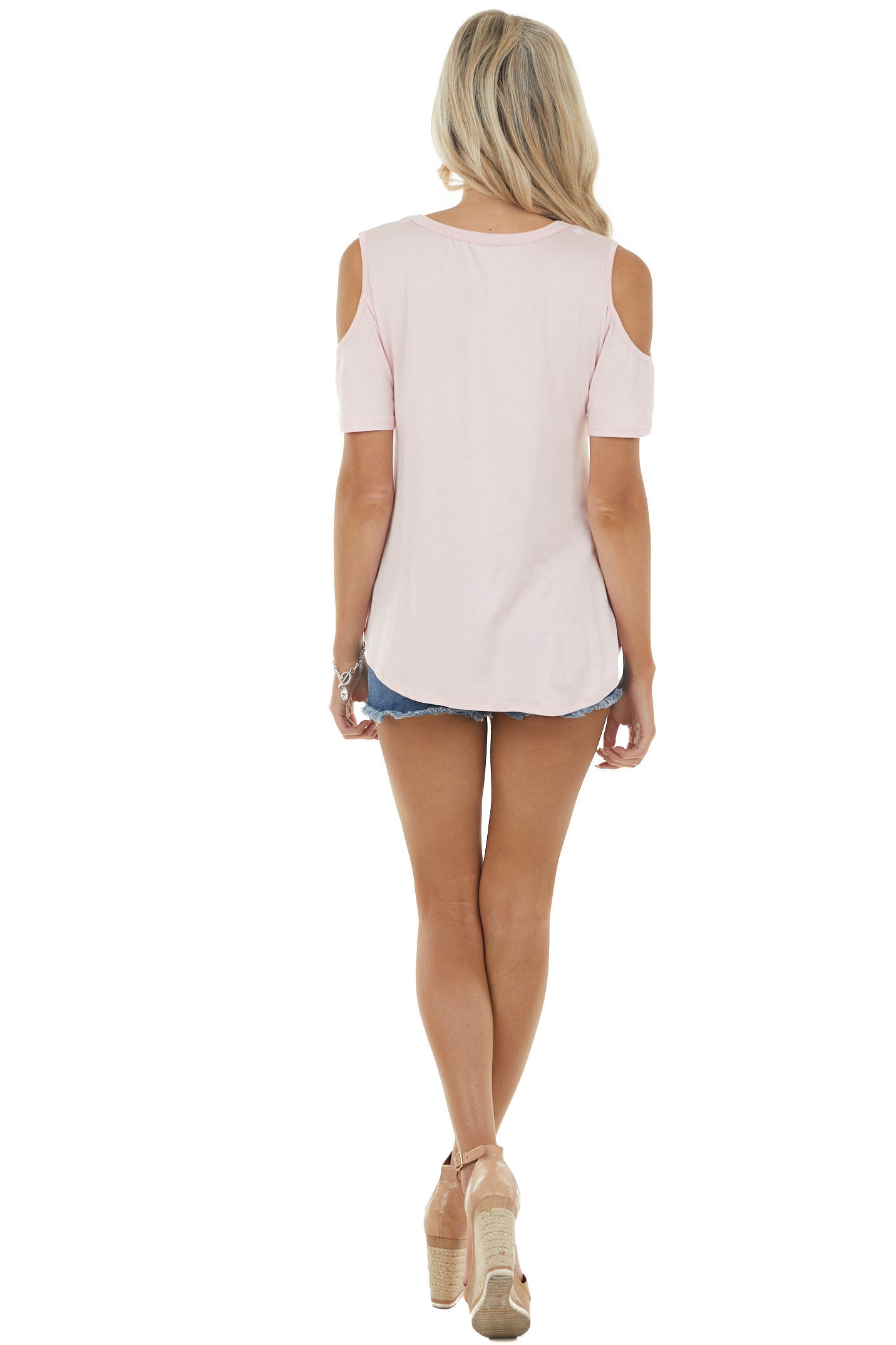 Blush Short Sleeve Knit Top with Front Tie Detail