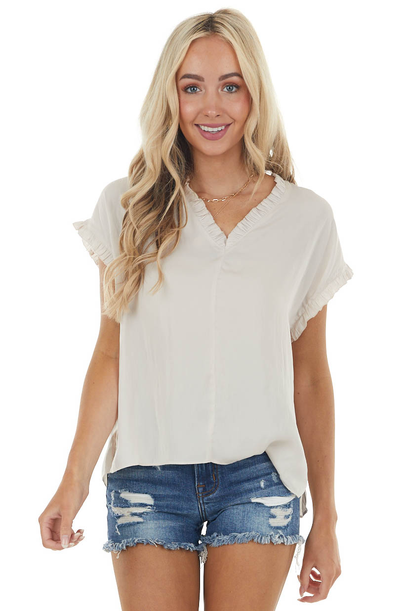 Champagne Short Sleeve V Neck Flowy Blouse with Frill Detail