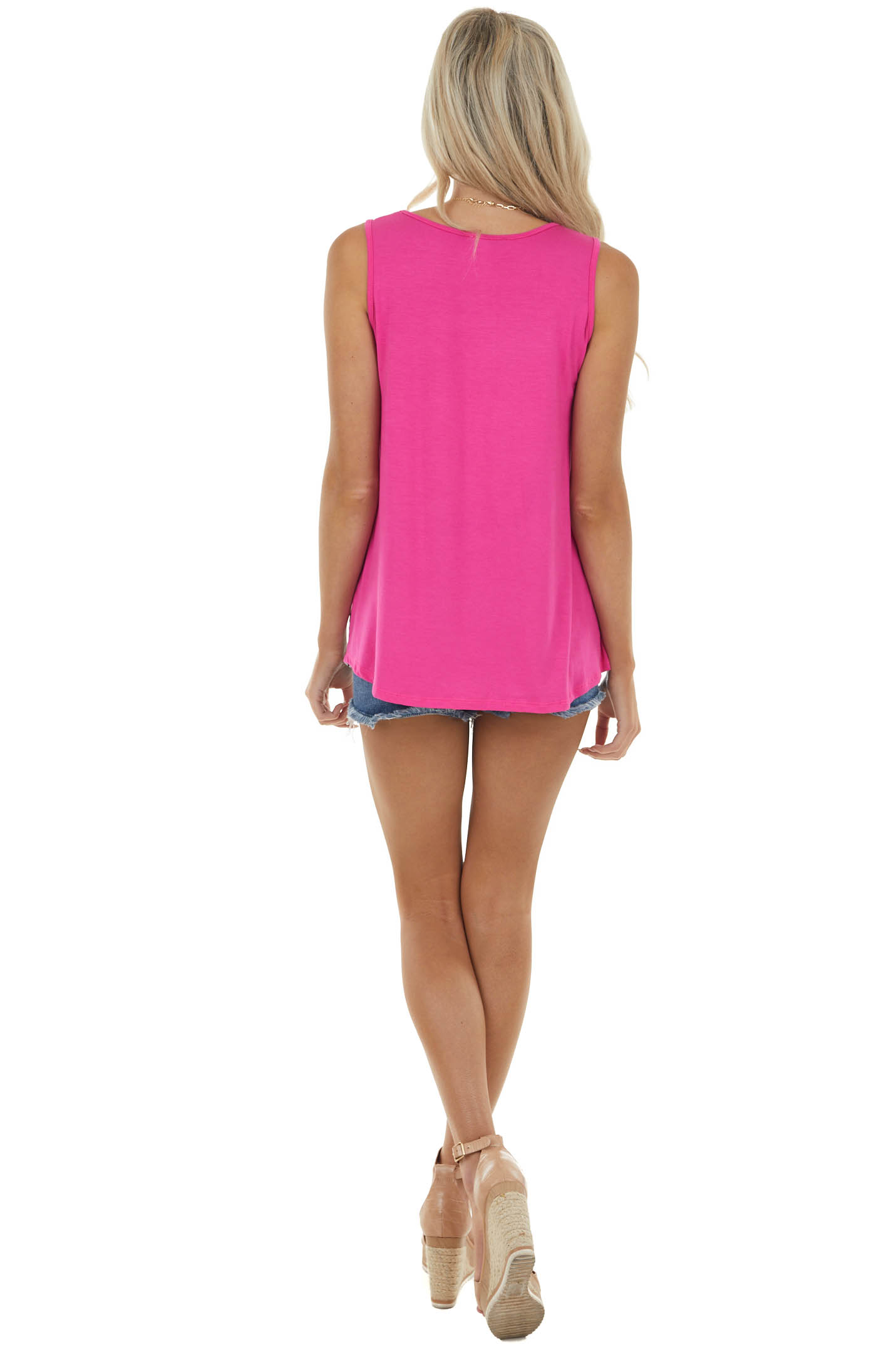 Magenta Sleeveless Stretchy Knit Top with Contrasting Prints