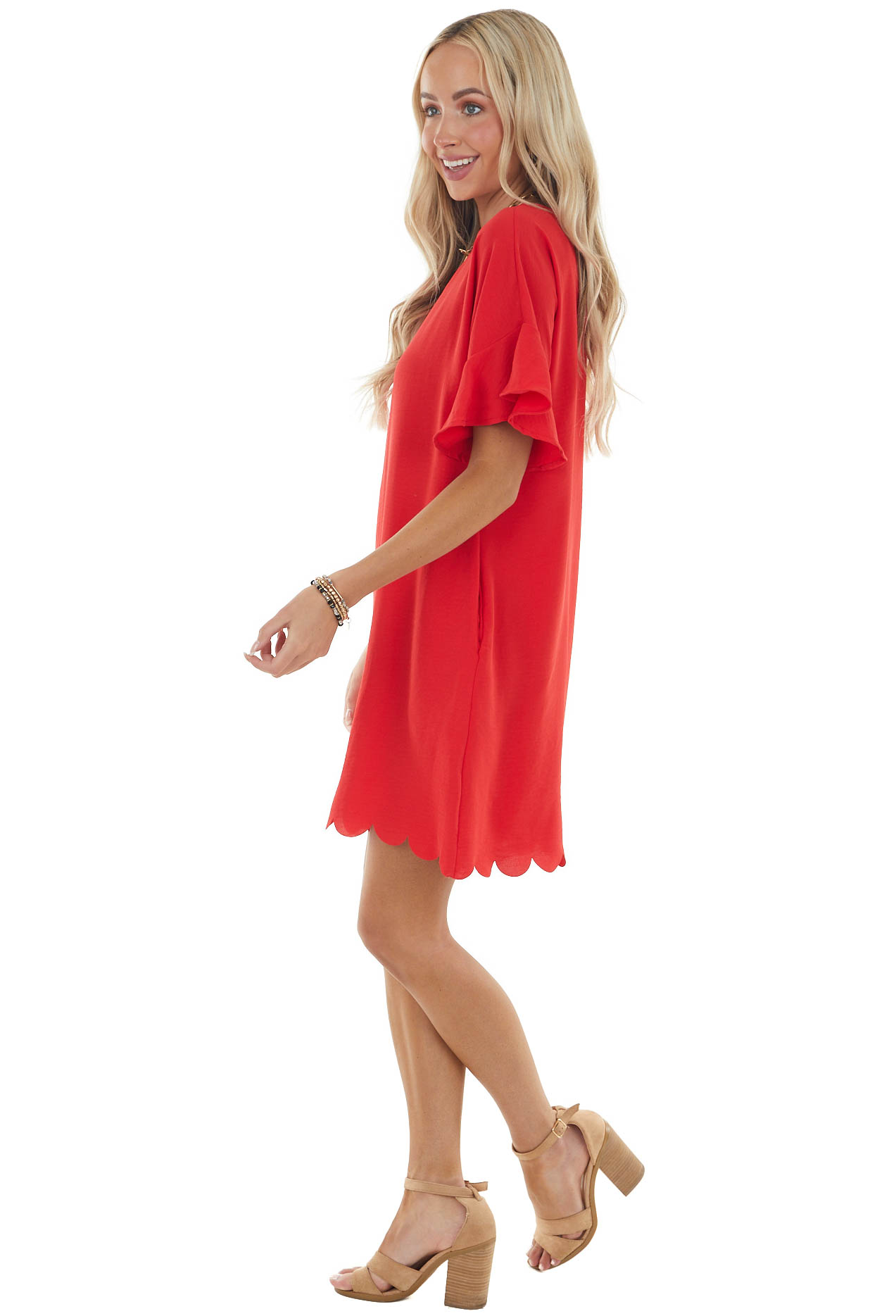Lipstick Red Short Dress with Scalloped Hem and Pockets