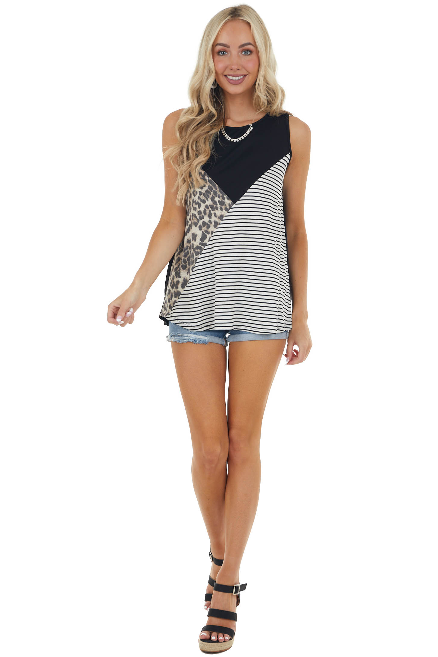 Black Sleeveless Stretchy Knit Top with Contrasting Prints